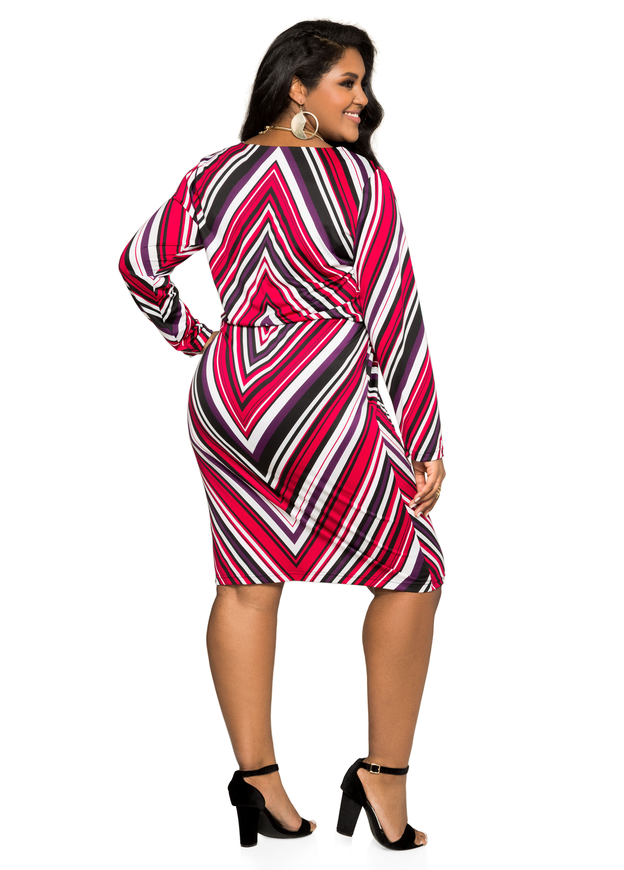 Blouson Chevron Print Dress
