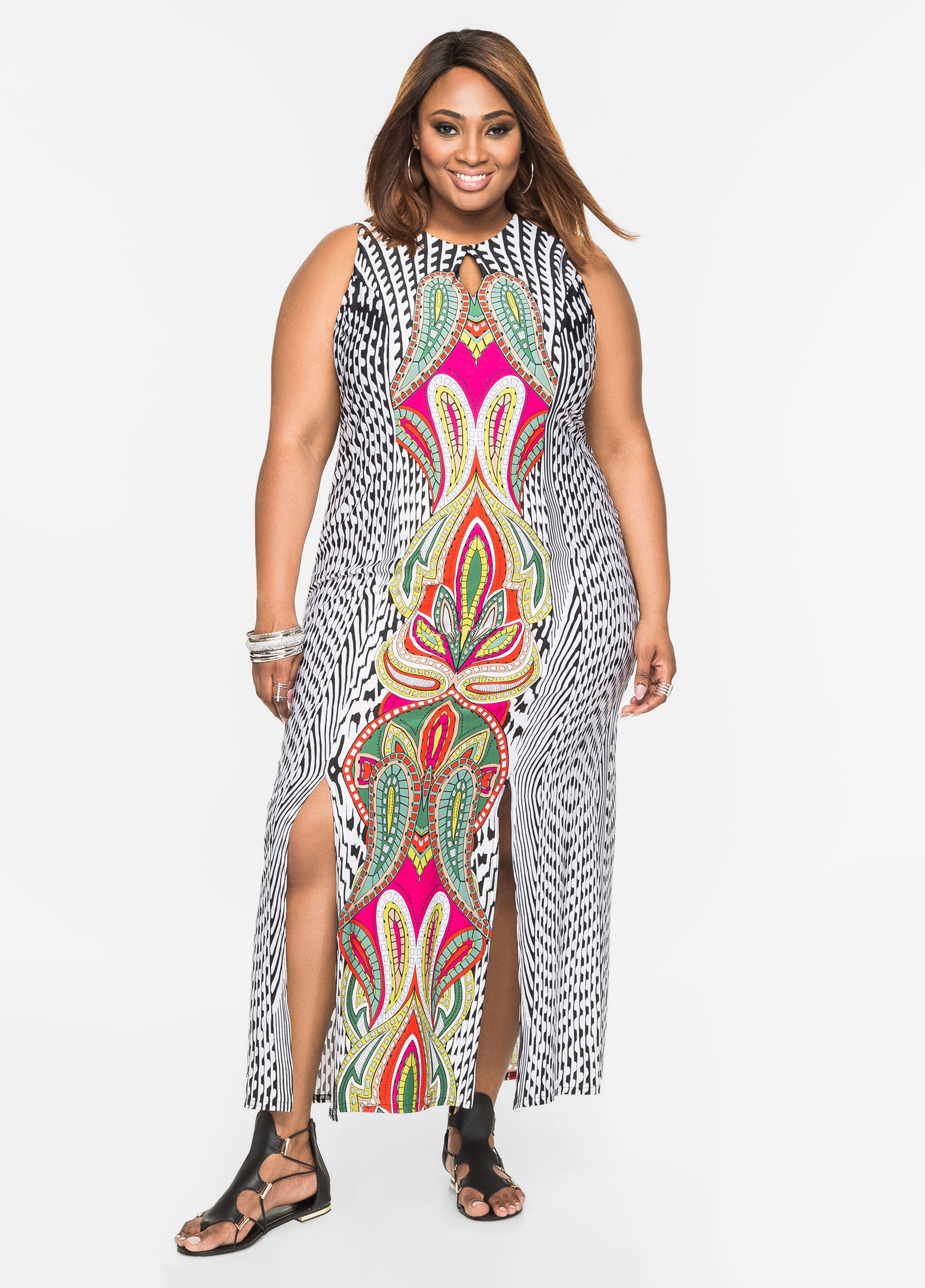 Geo Print Carwash Maxi Dress Black Combo - Clearance