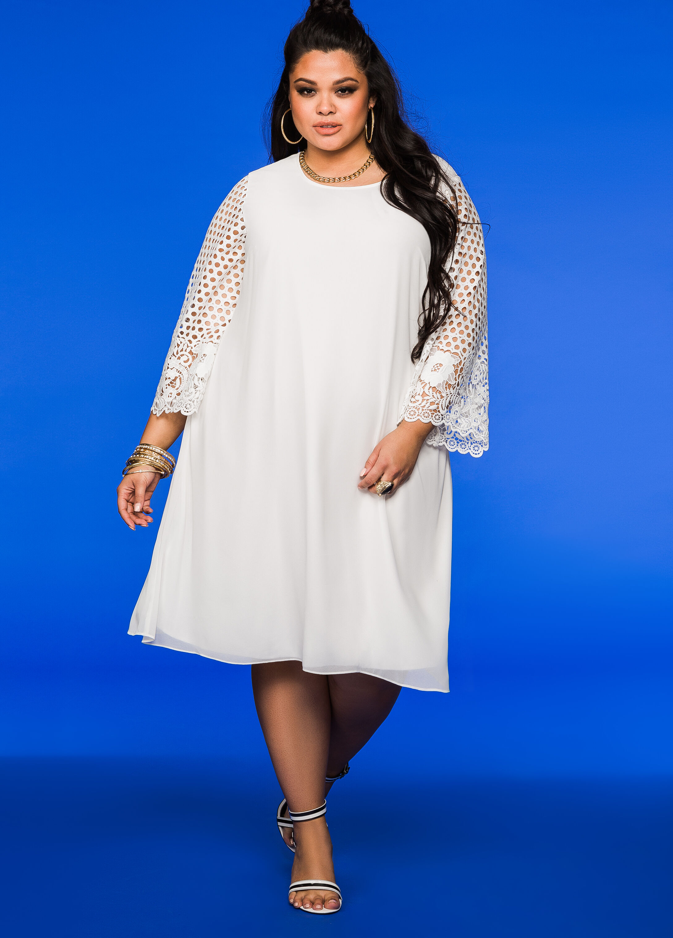 Lace Sleeve Chiffon Dress