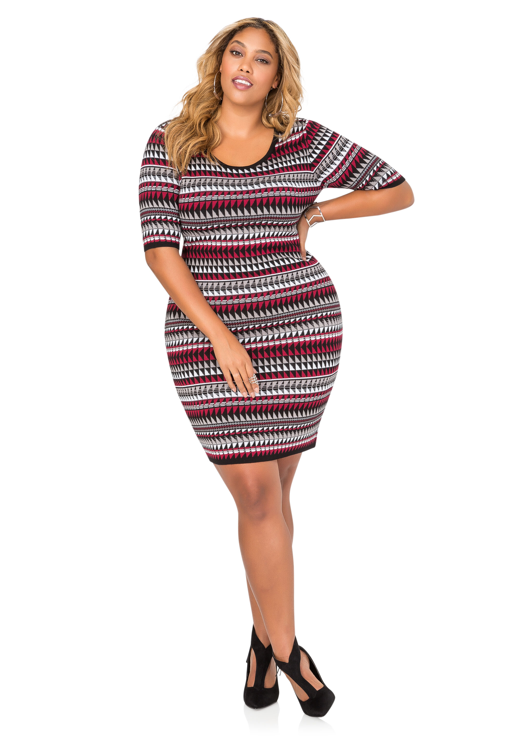 Geo Stripe Jacquard Sweater Dress