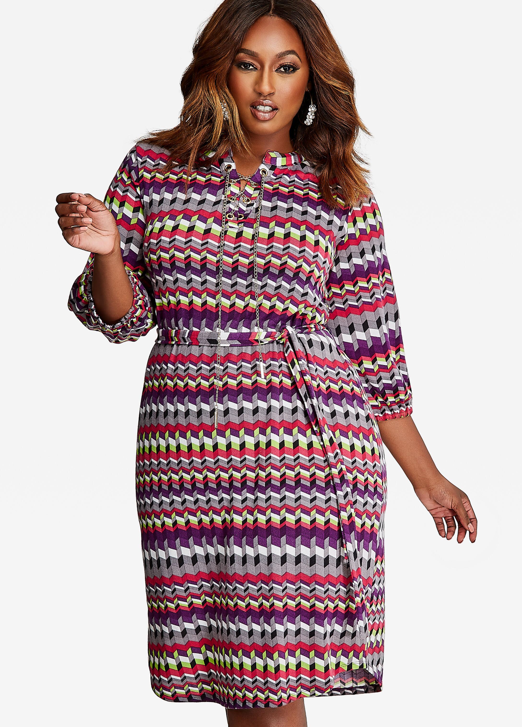 Grommet Chain Knit Sweater Dress