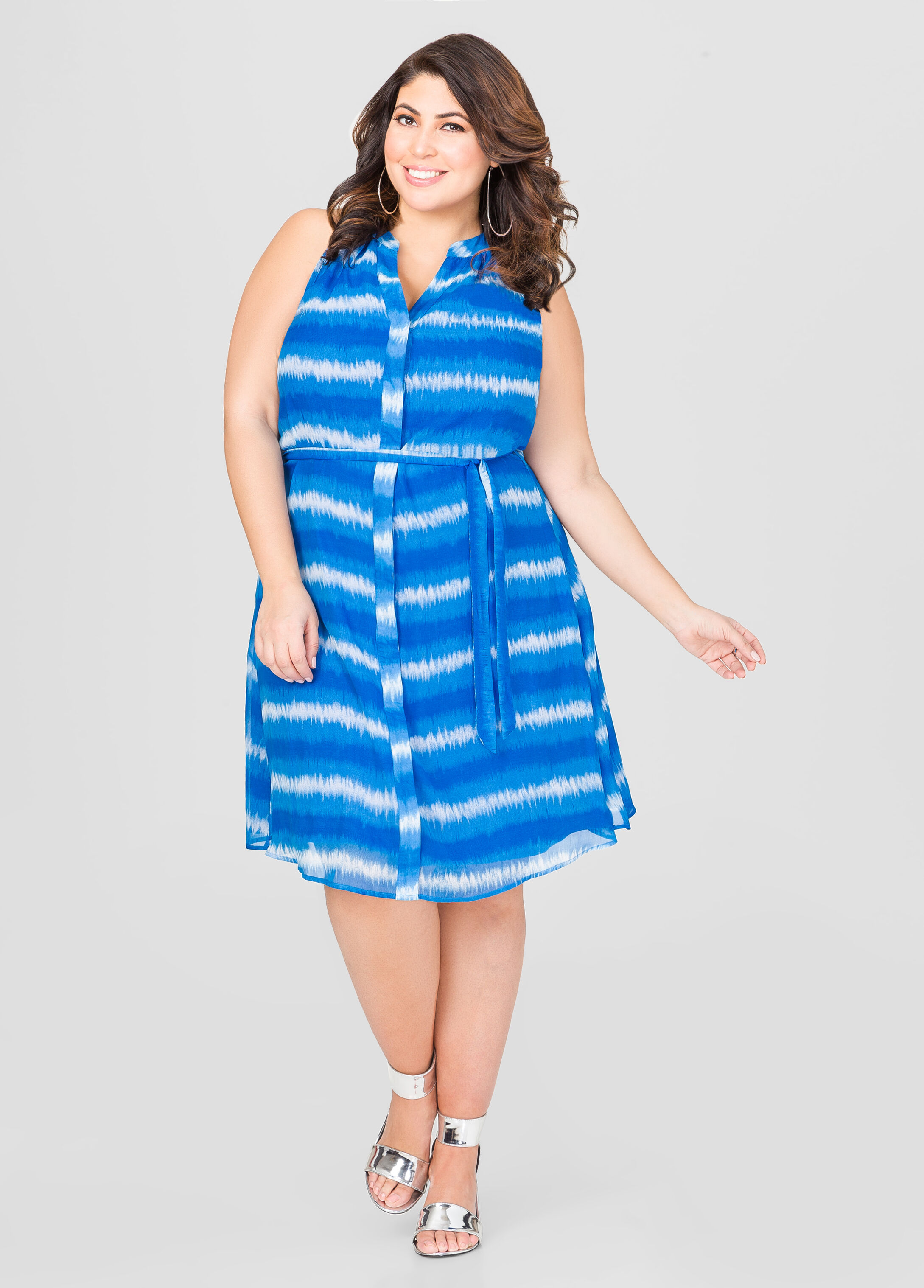Belted Tie Dye Stripe Dress