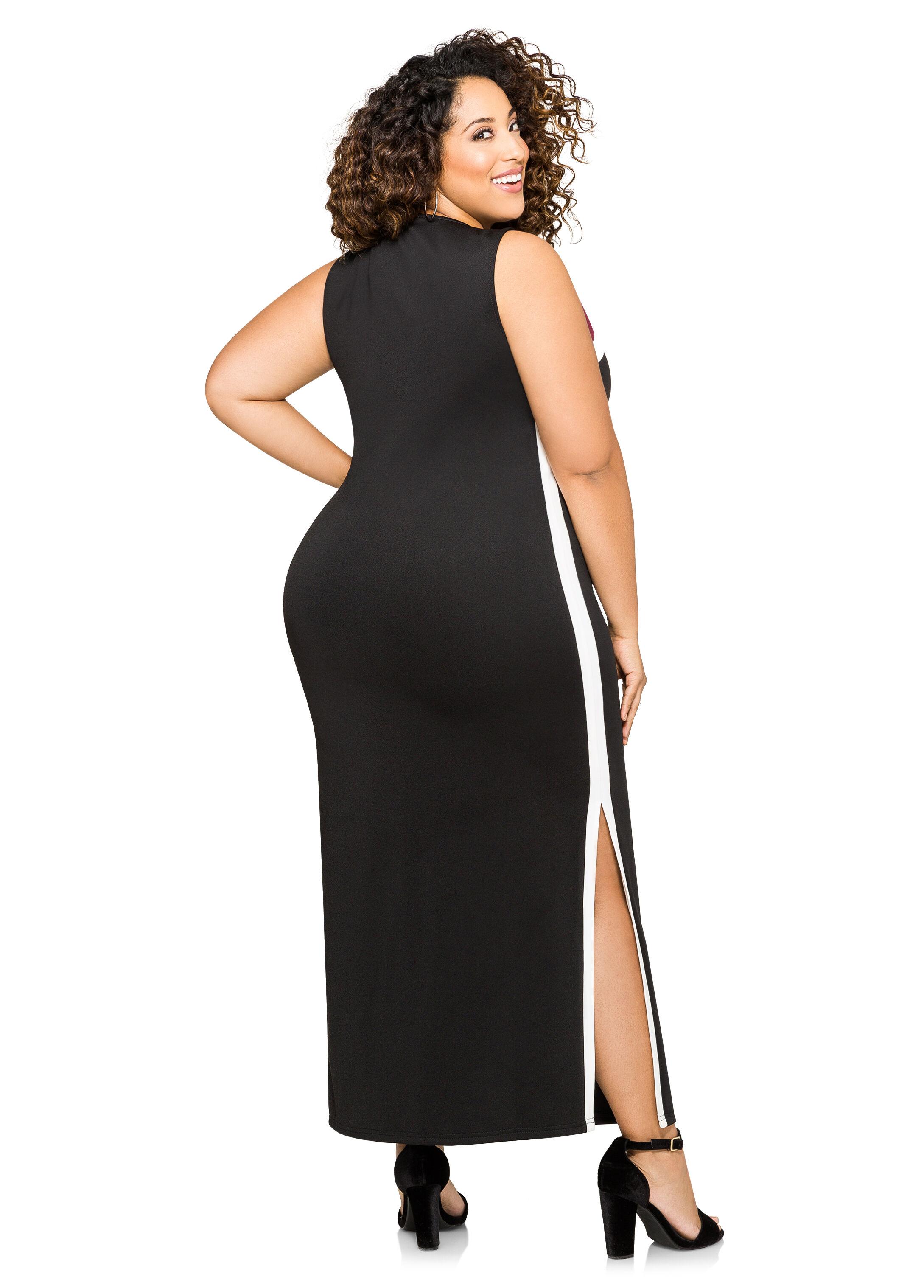 Athletic Stripe Maxi Dress
