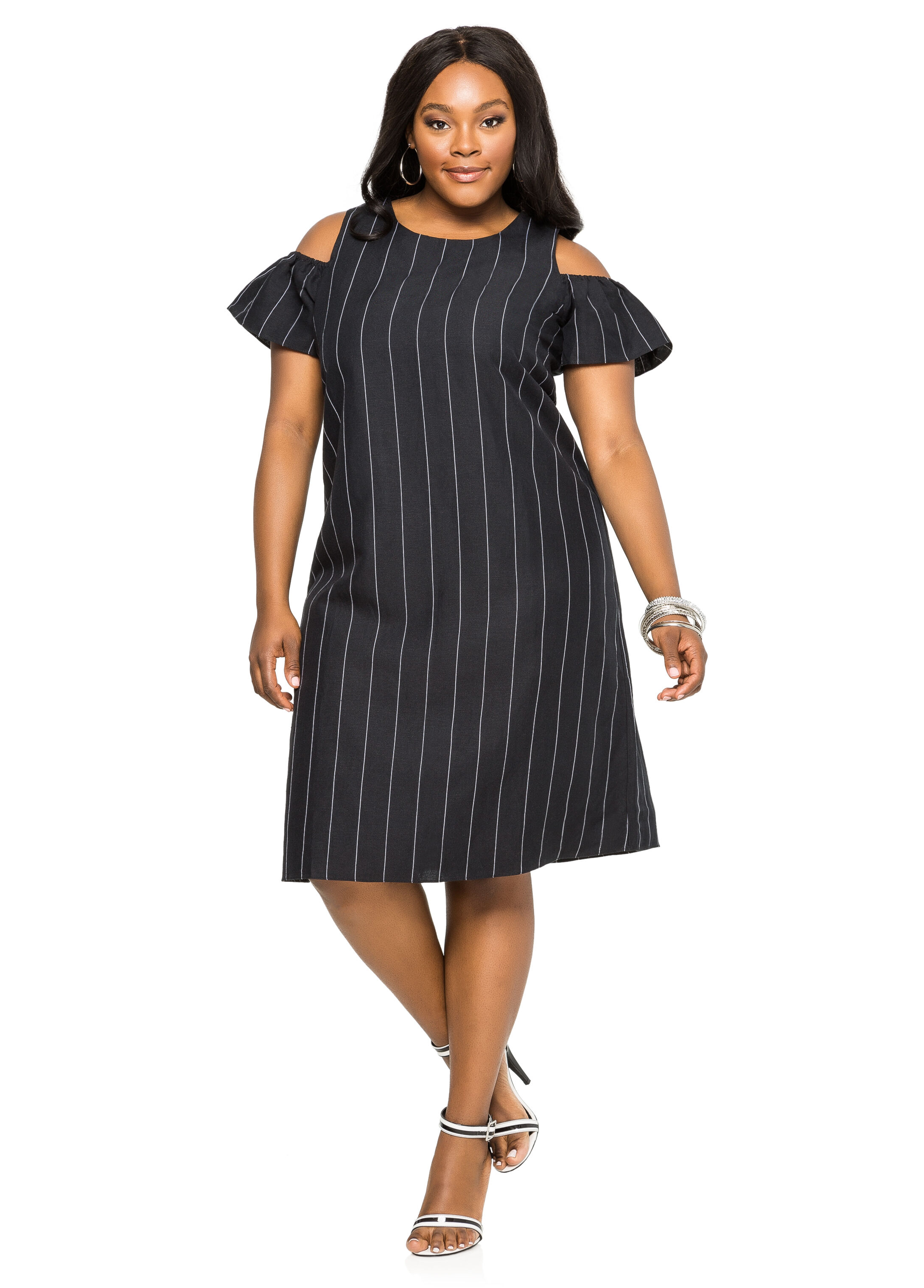 plus size striped cold shoulder linen dress 010 83192mstr. Black Bedroom Furniture Sets. Home Design Ideas