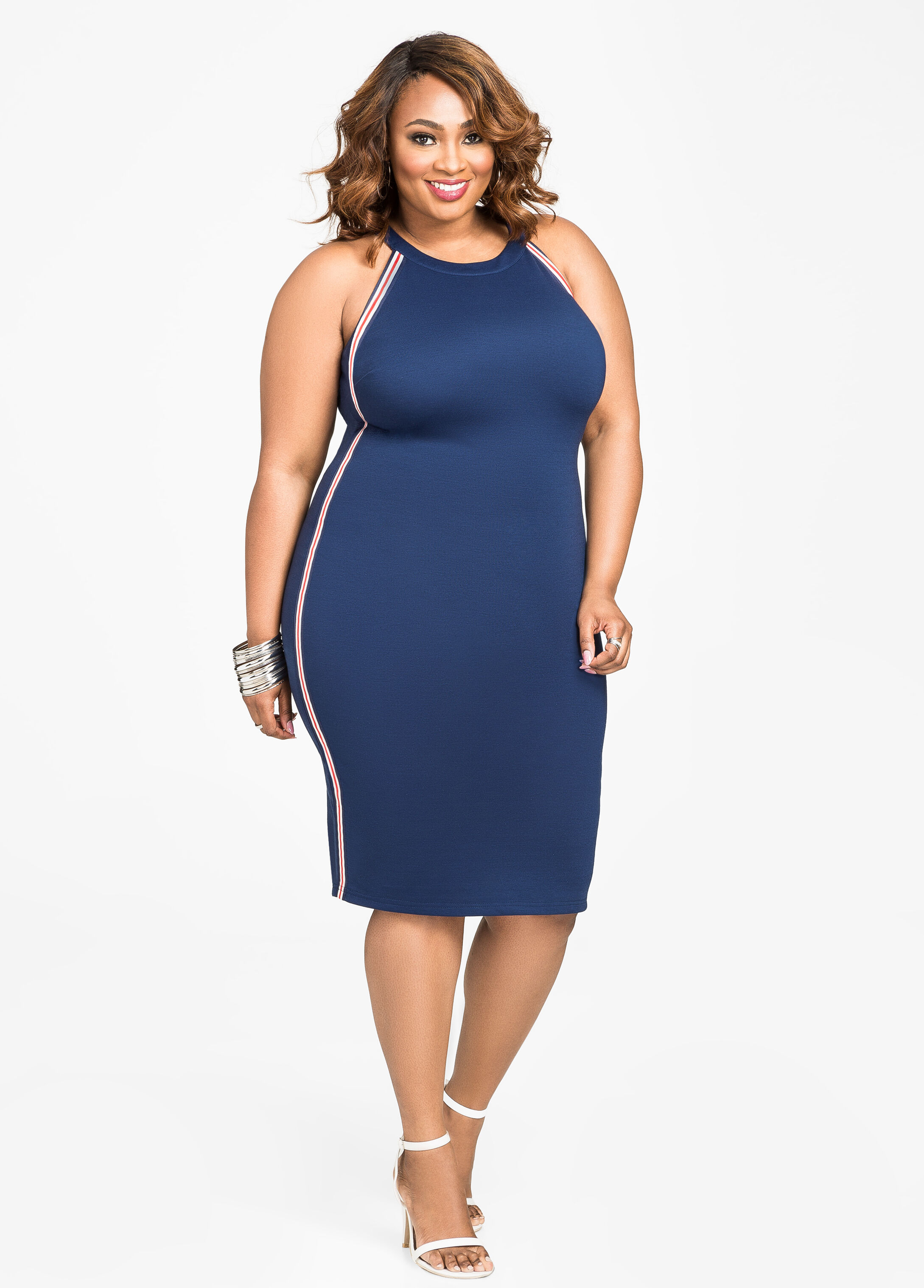 Athletic Stripe Racerback Dress Medieval Blue - Clearance