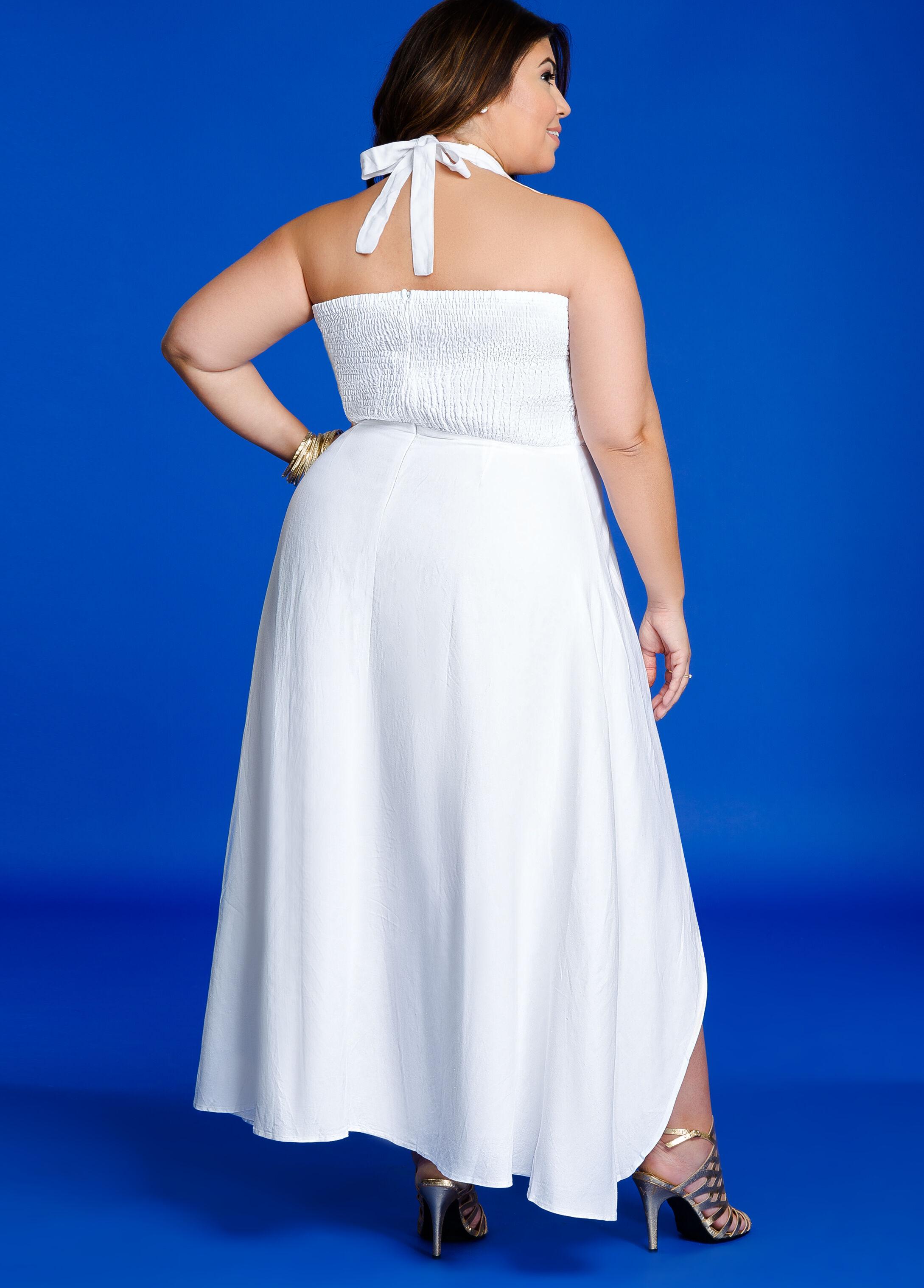 Ruffle Top Hi-Lo Halter Maxi Dress
