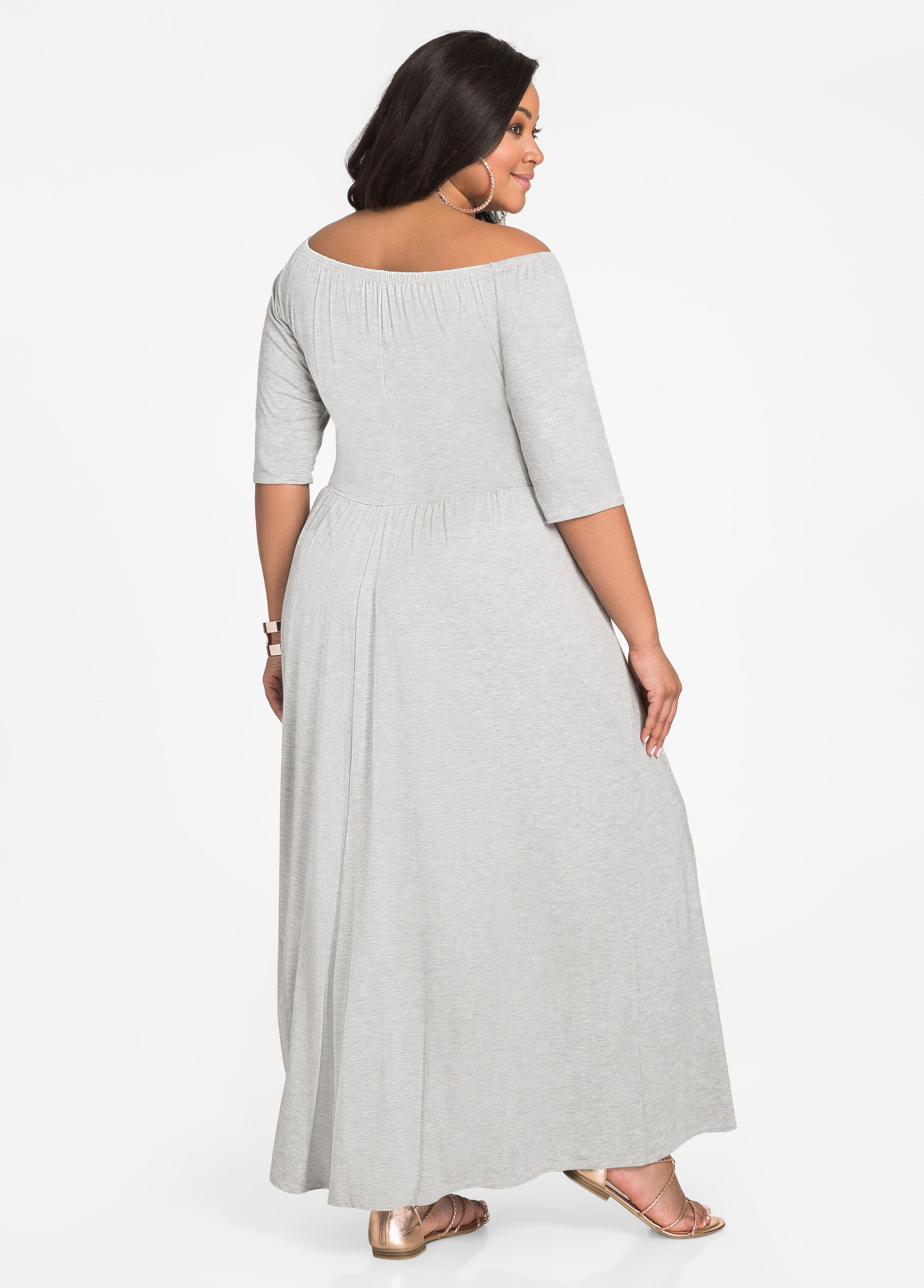 Elbow Sleeve Ballerina Maxi Dress