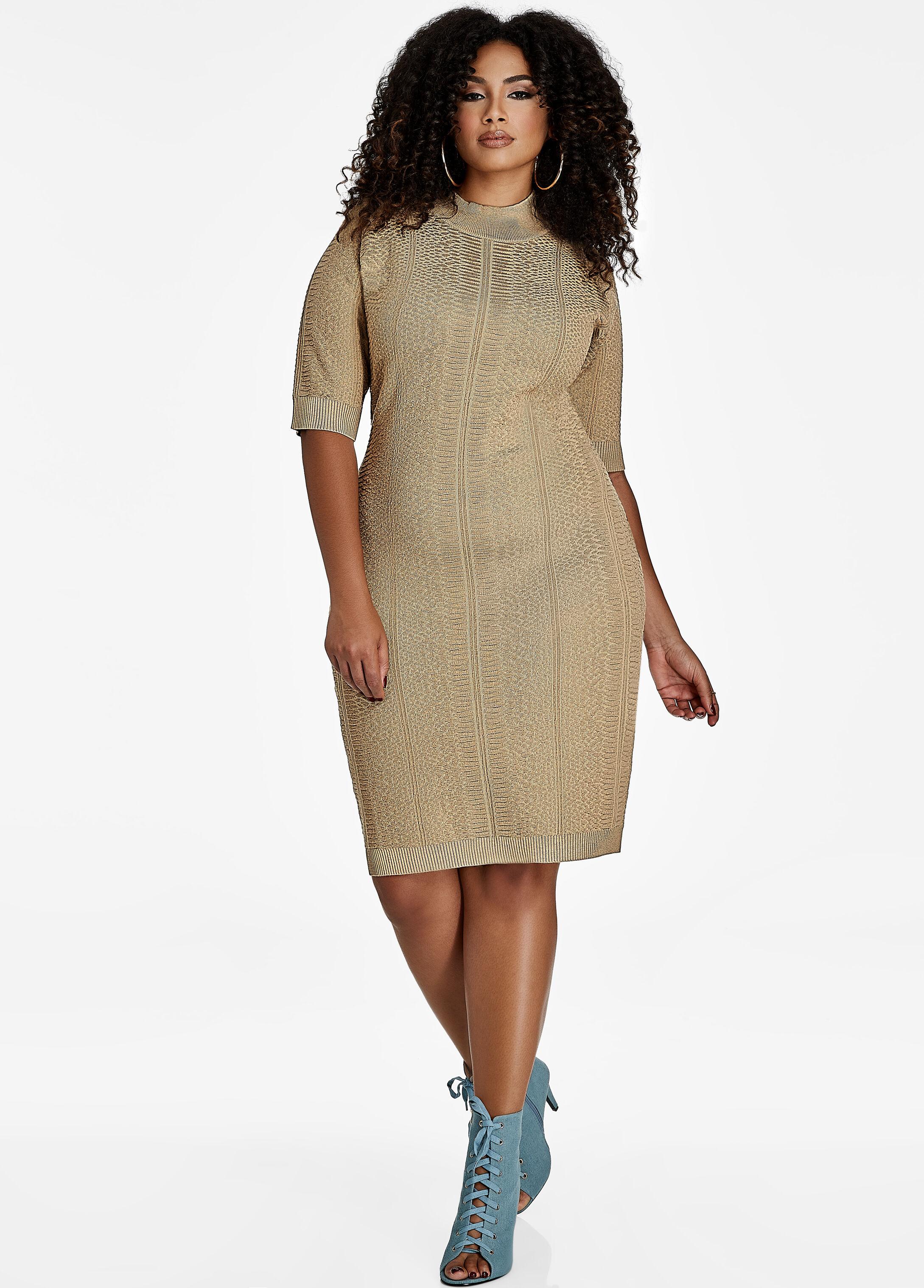 Mockneck Textured Sweater Dress