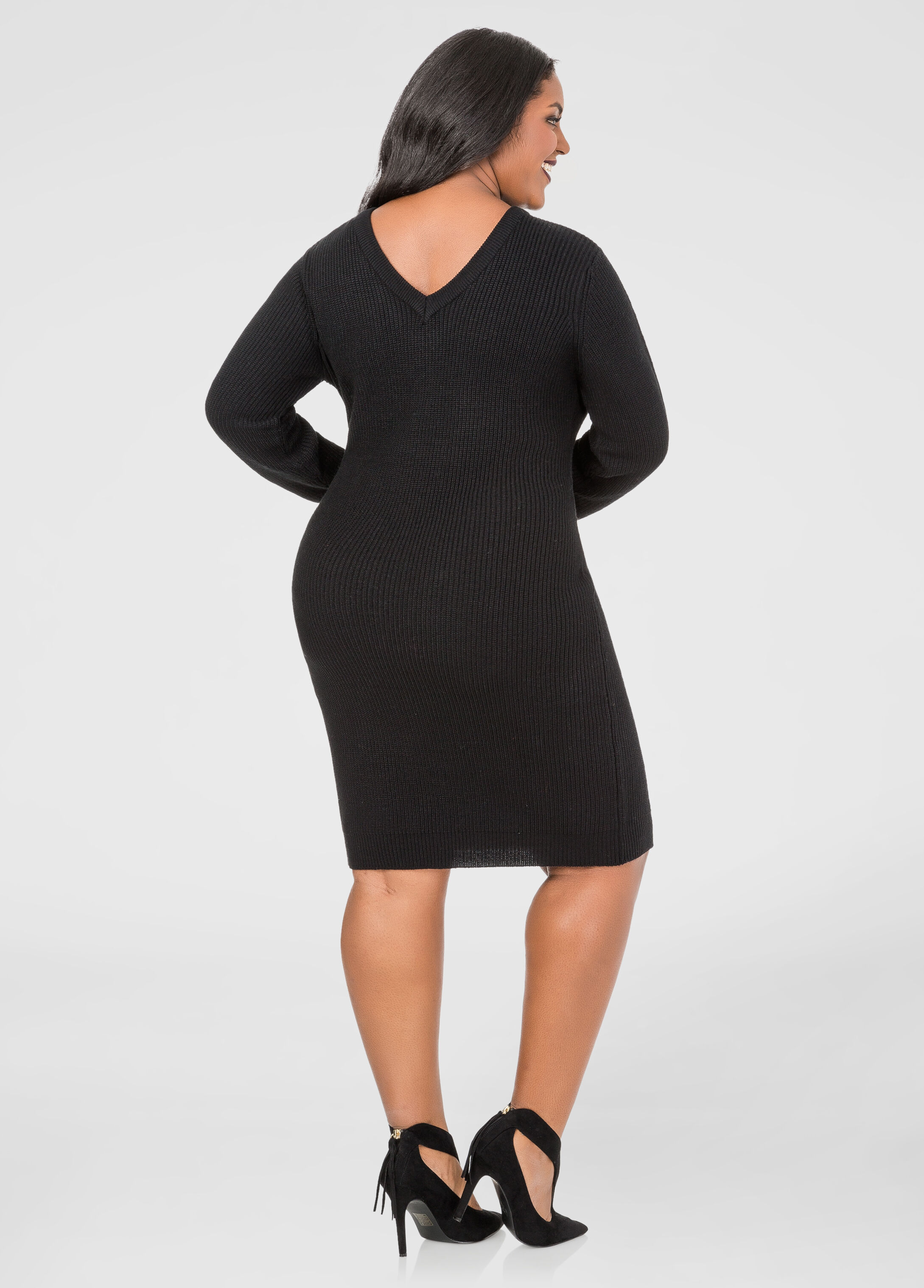 Lace-Up Bodycon Sweater Dress