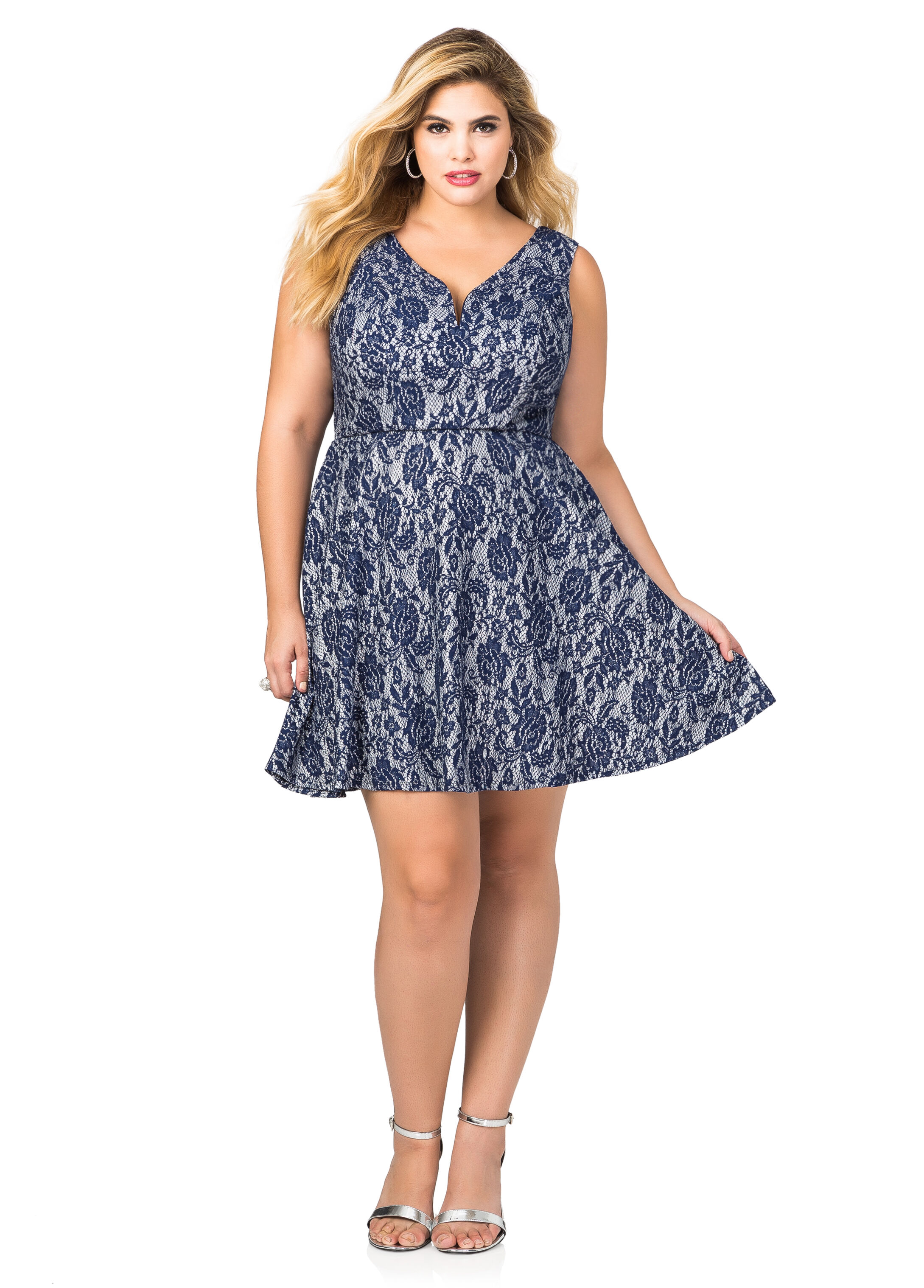 Metallic Lace Skater Dress