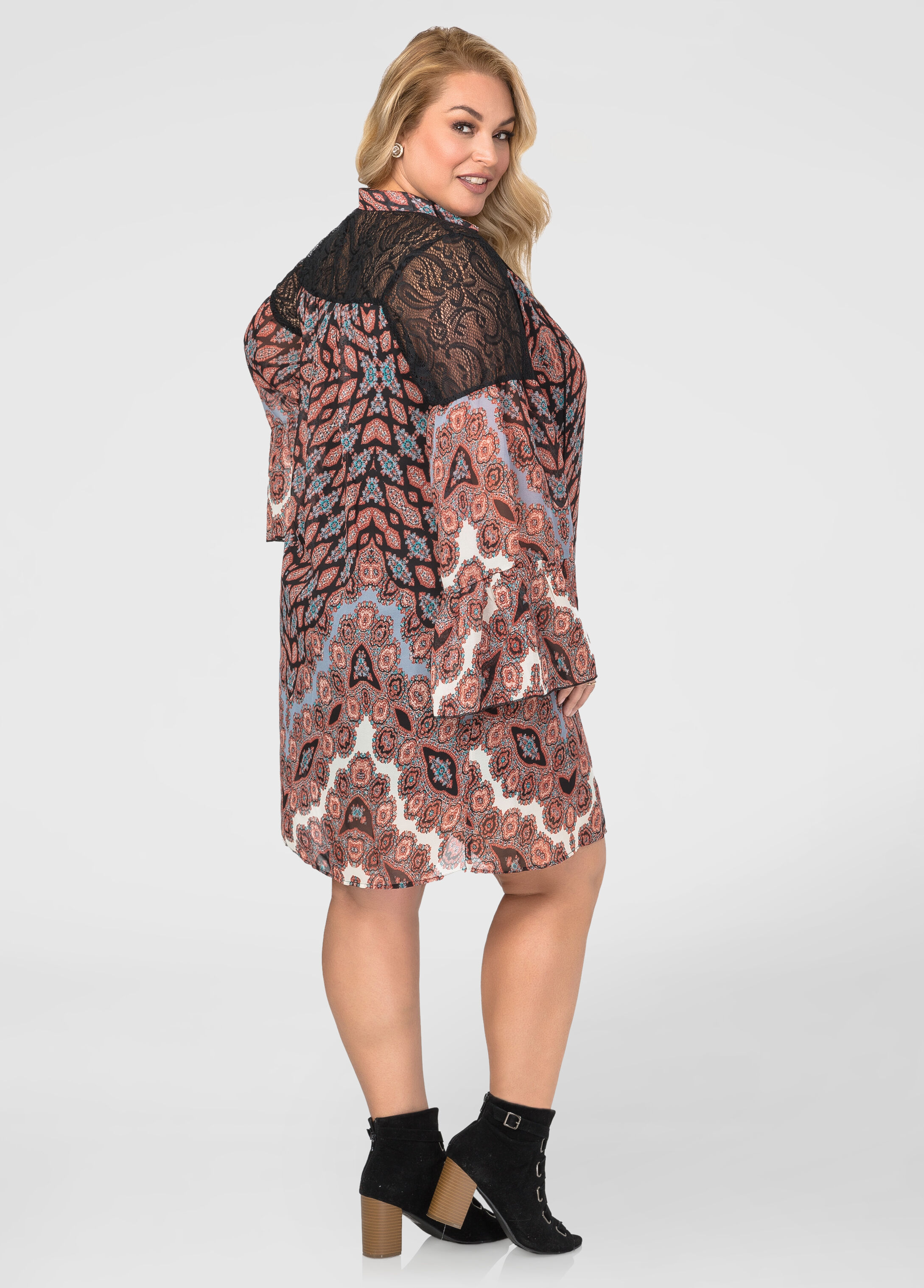 Crochet Yoke Printed Floater Dress