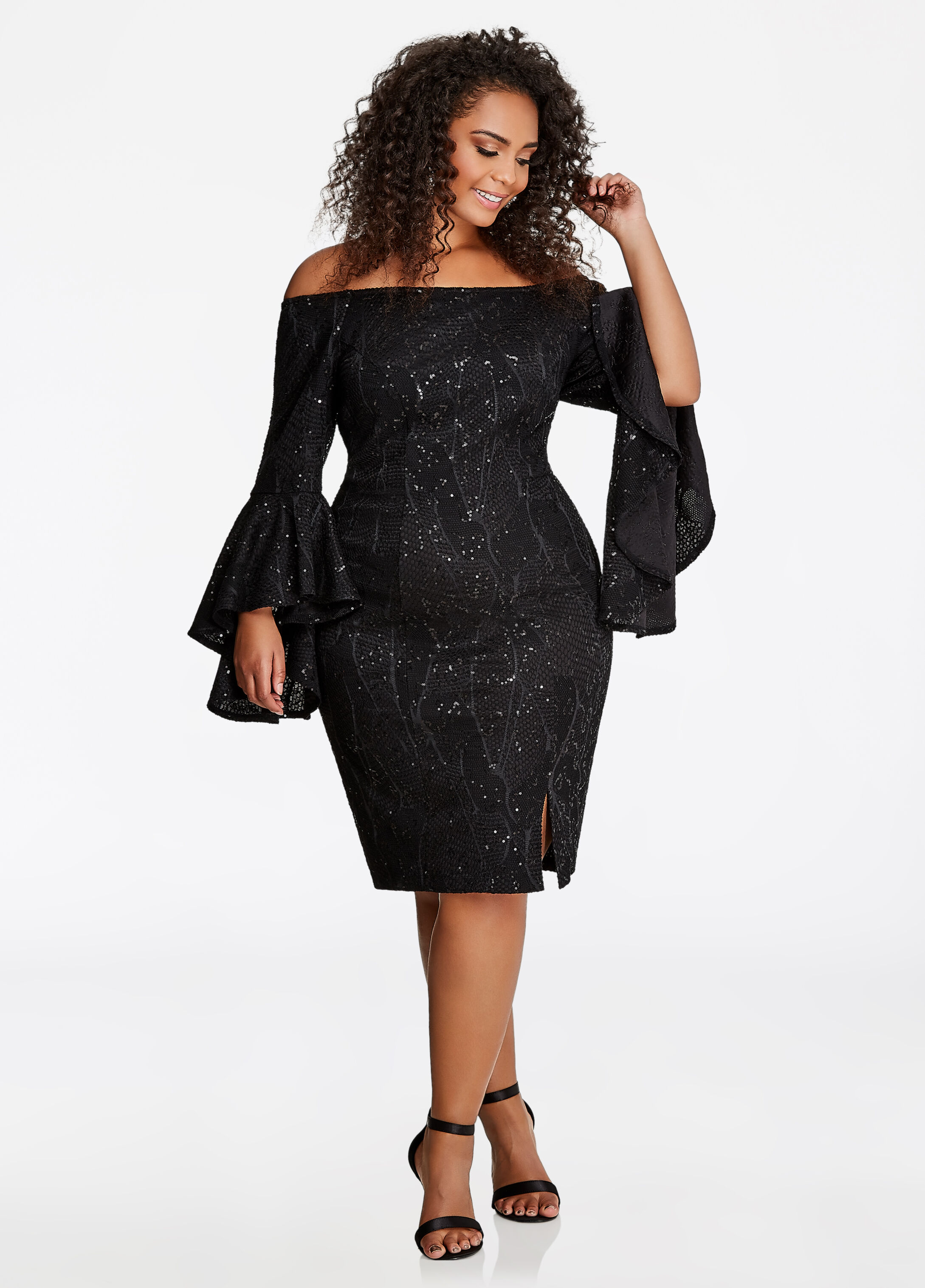 Off-the-Shoulder Sequin Lace Dress