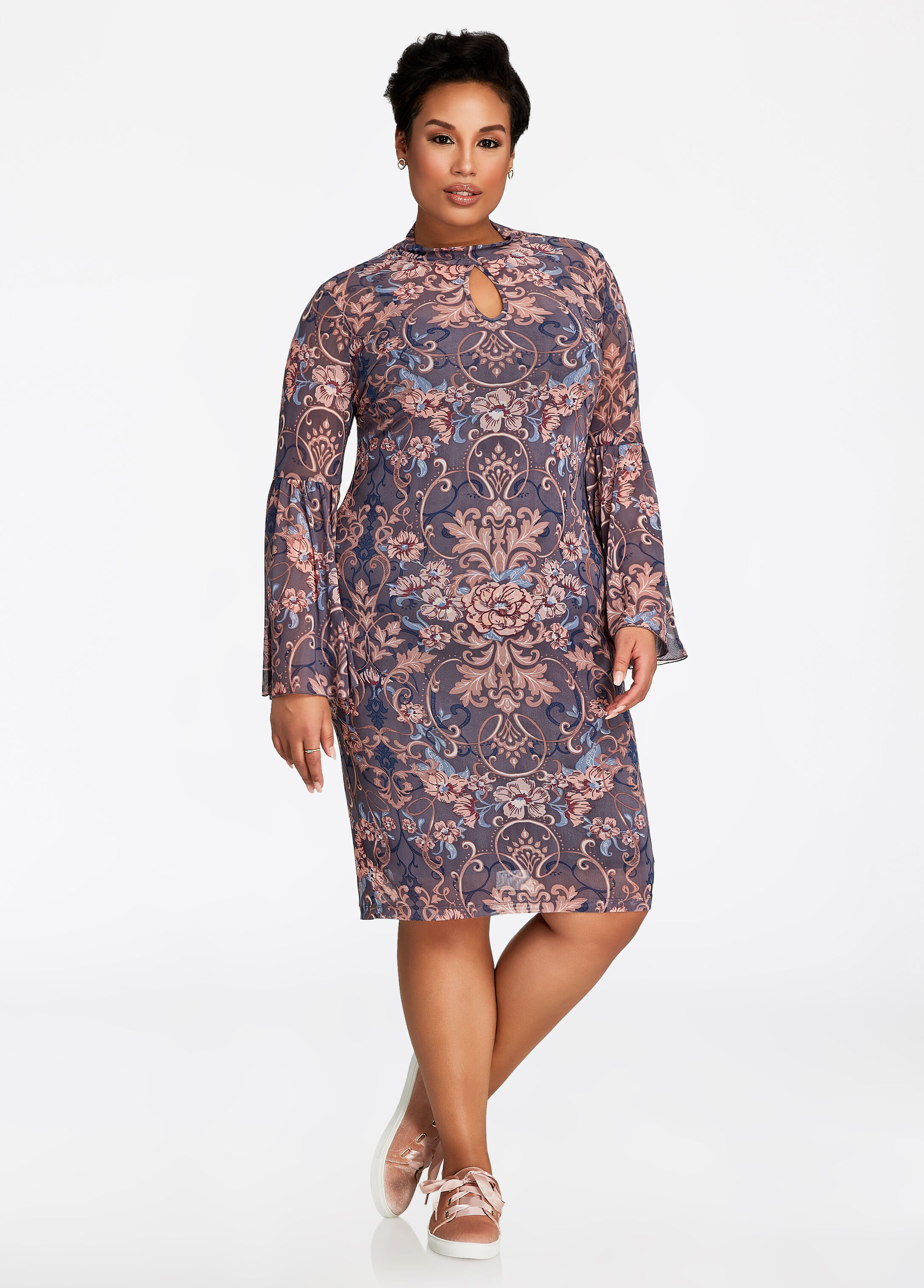 Mockneck Keyhole Mesh Floral Dress