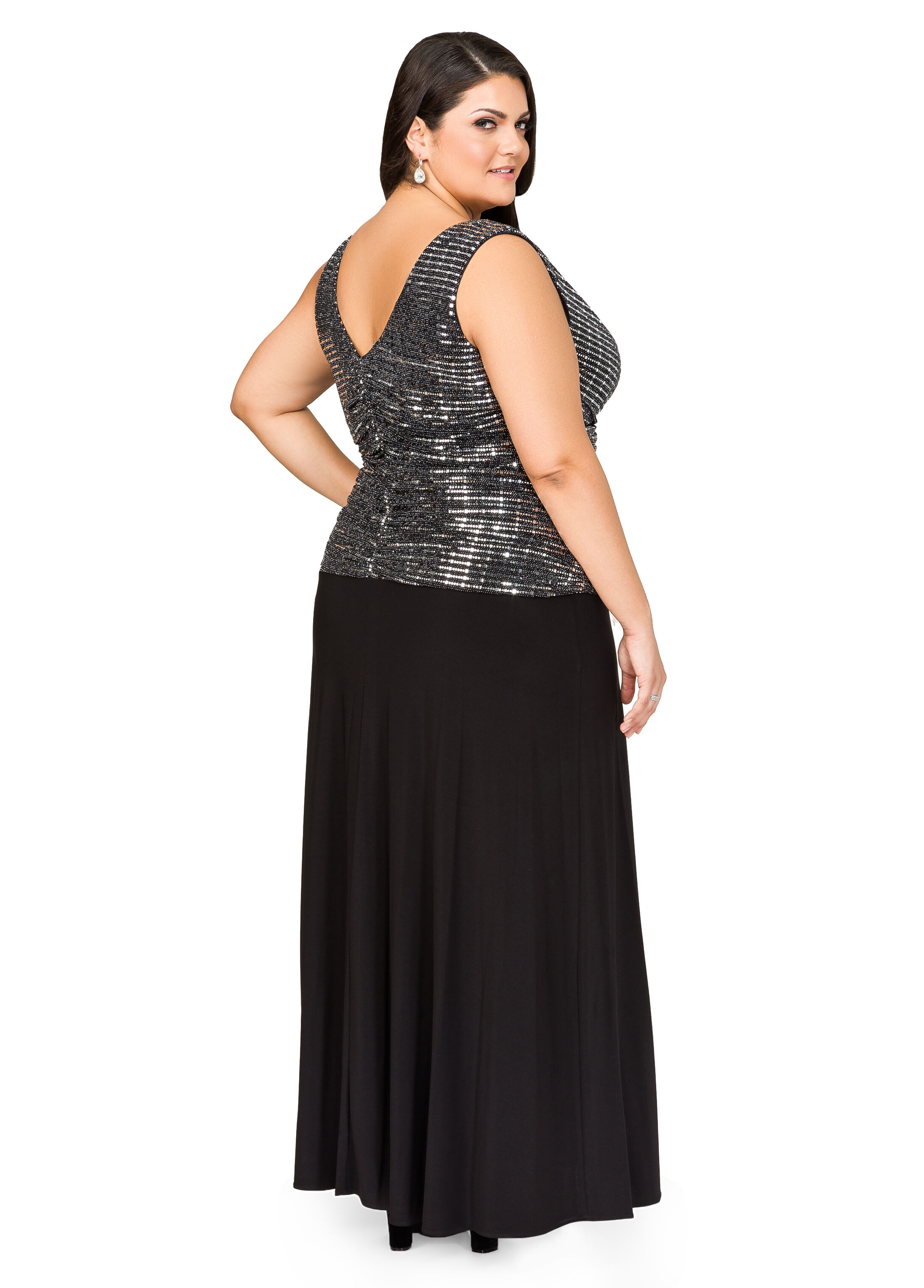 Metallic Drape Neck Gown