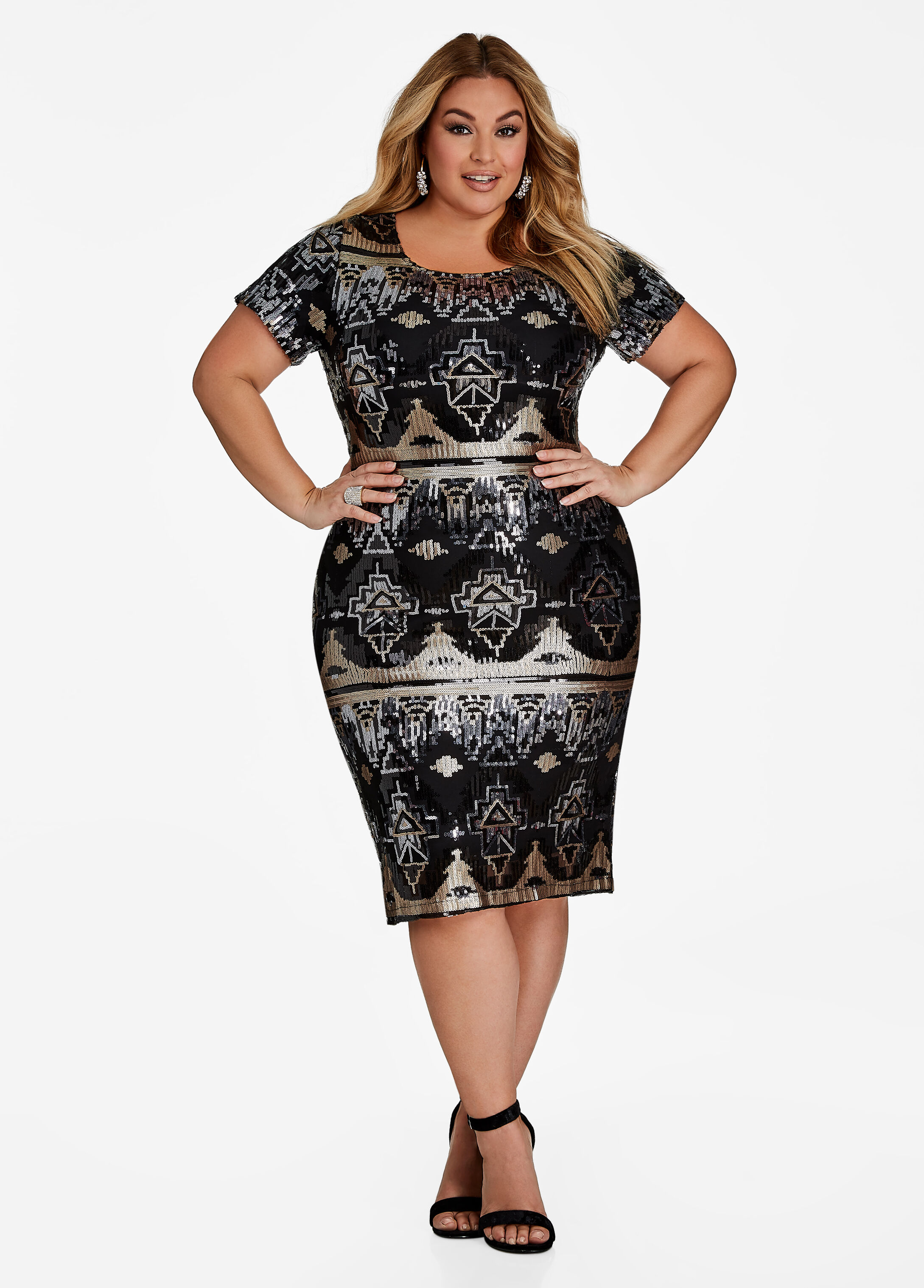 Sequin Geo Pattern Bodycon Dress