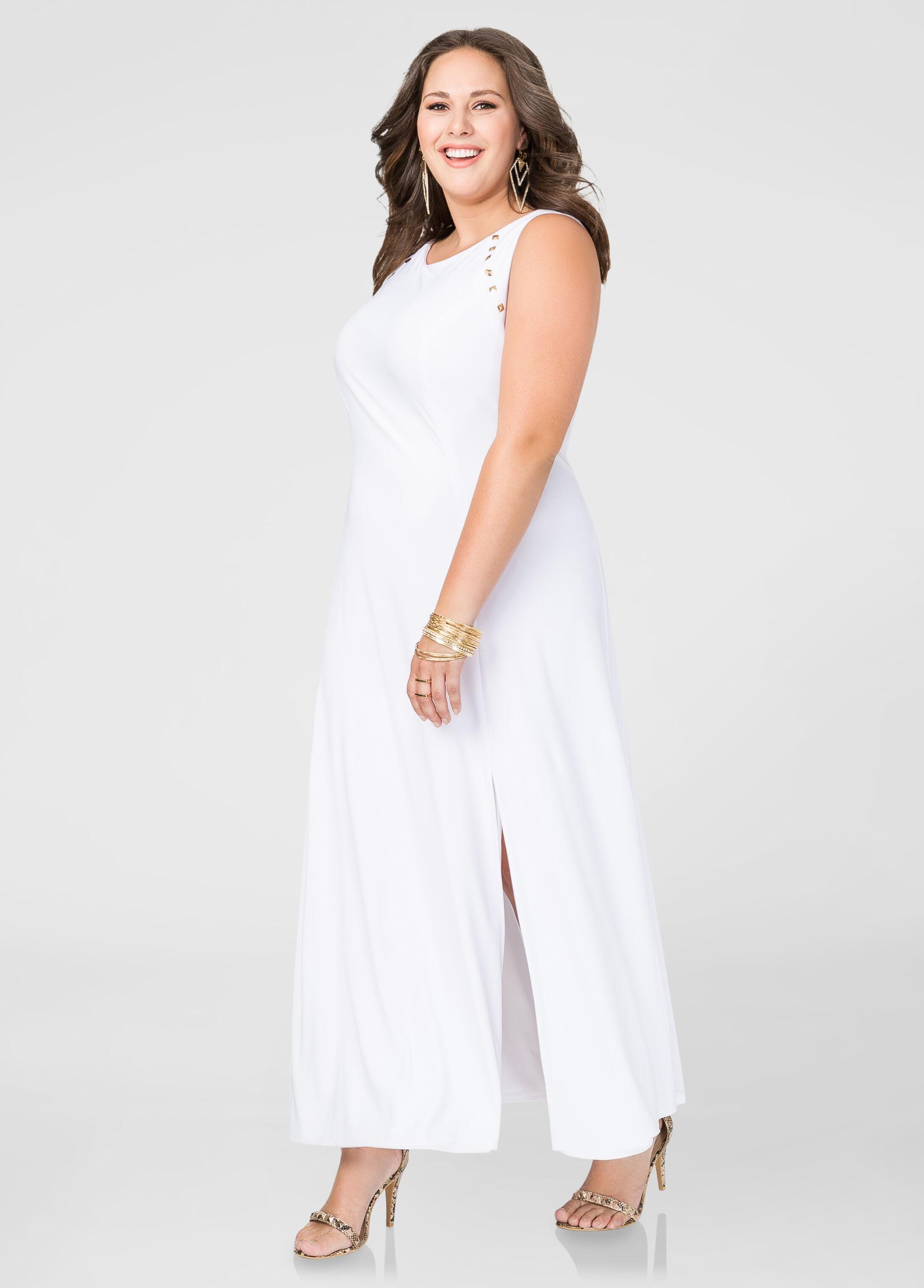 Studded Front Slit Maxi Dress