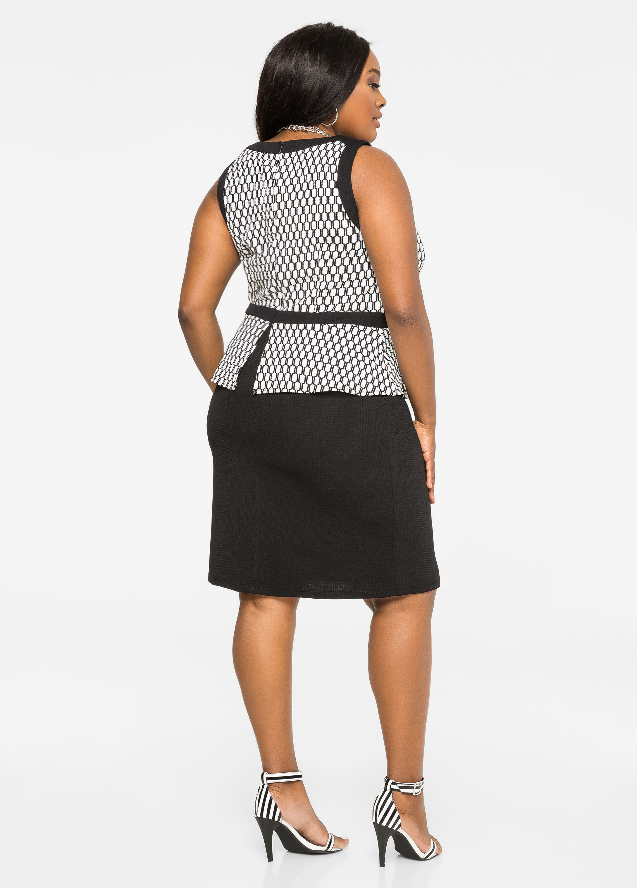 Honeycomb Peplum Dress