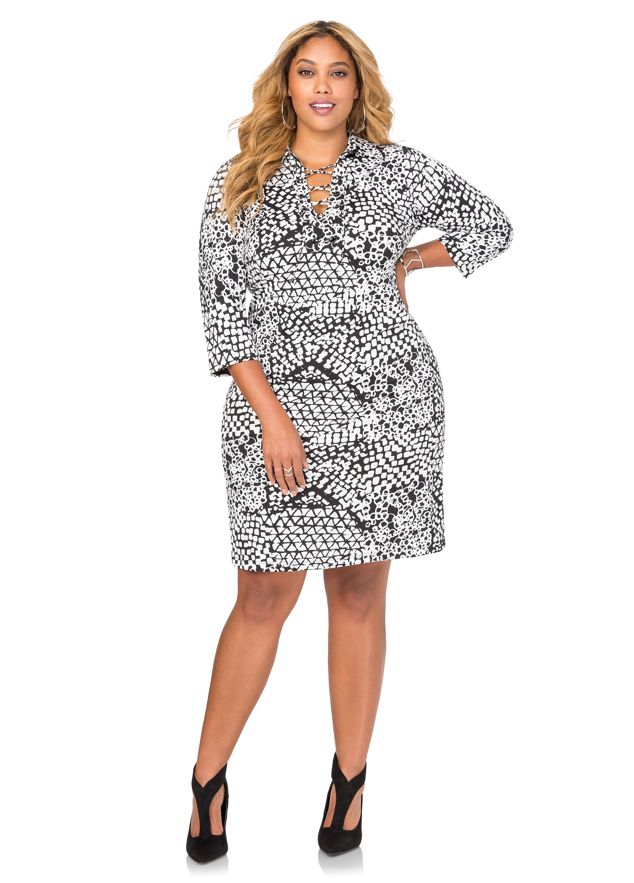 Printed Lace-Up Tunic Dress