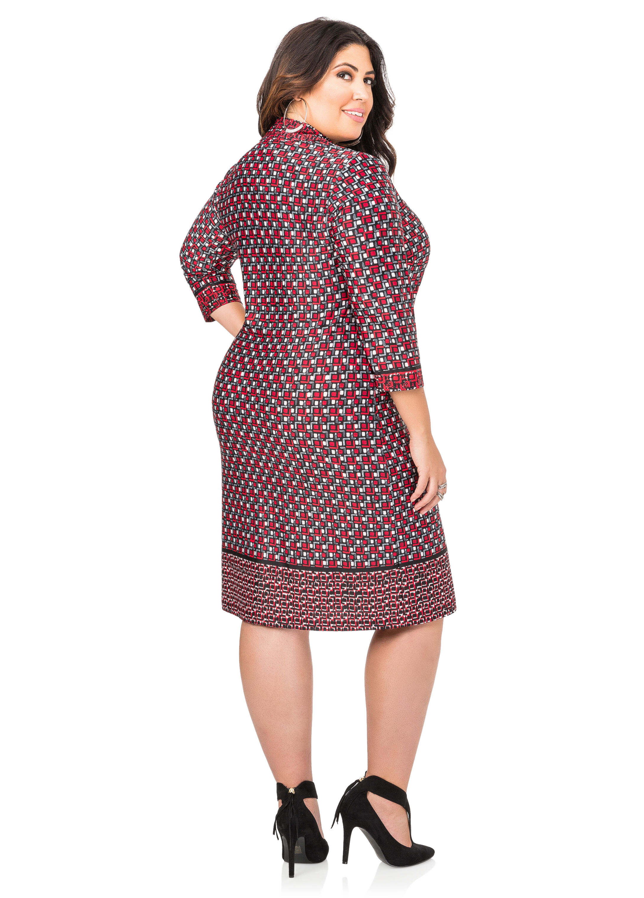 Contrast Border Lace-Up Tunic Dress
