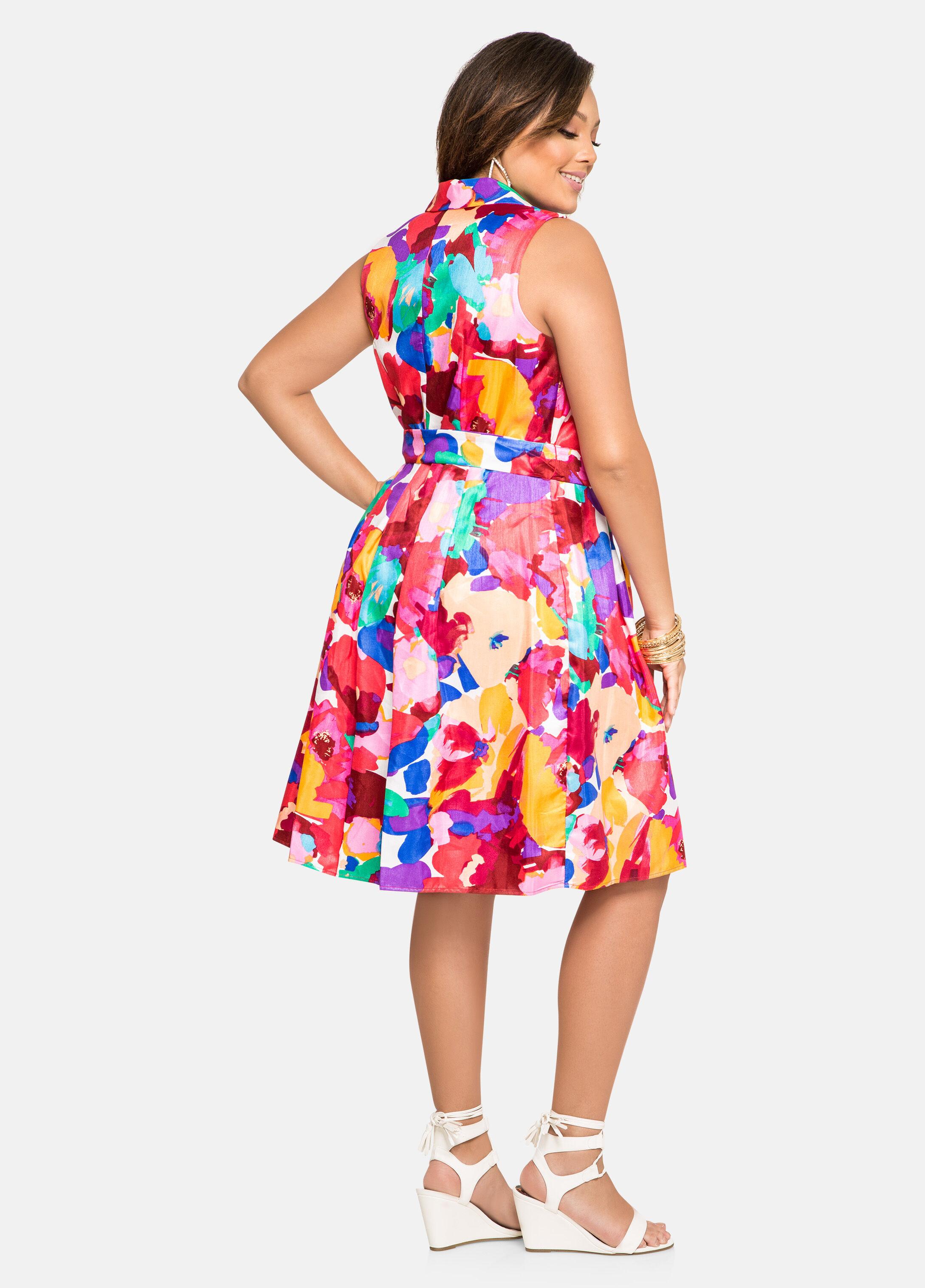 Watercolor Sateen Belted Dress
