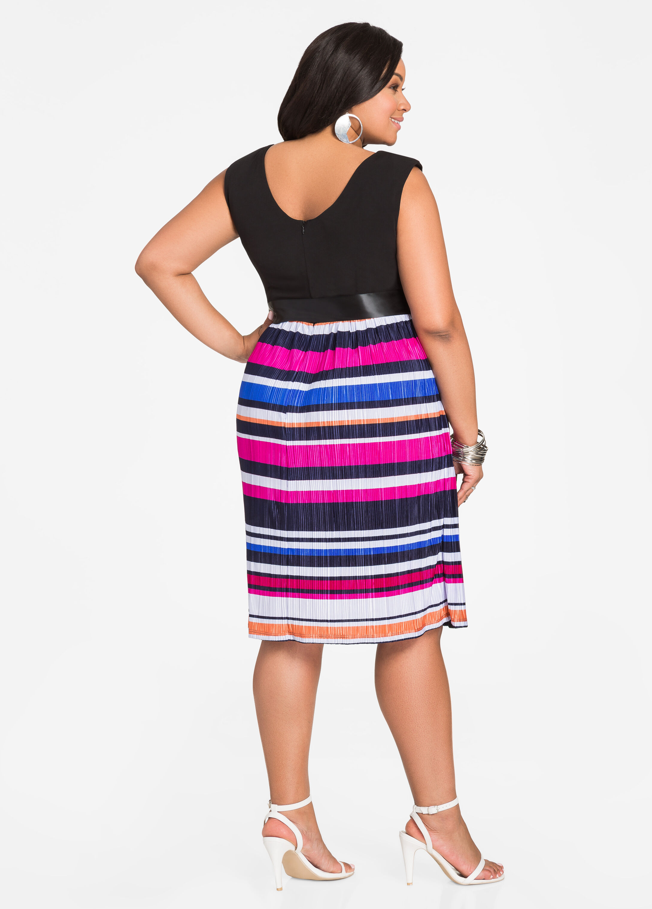 Stripe Skirt Skater Dress with Sash