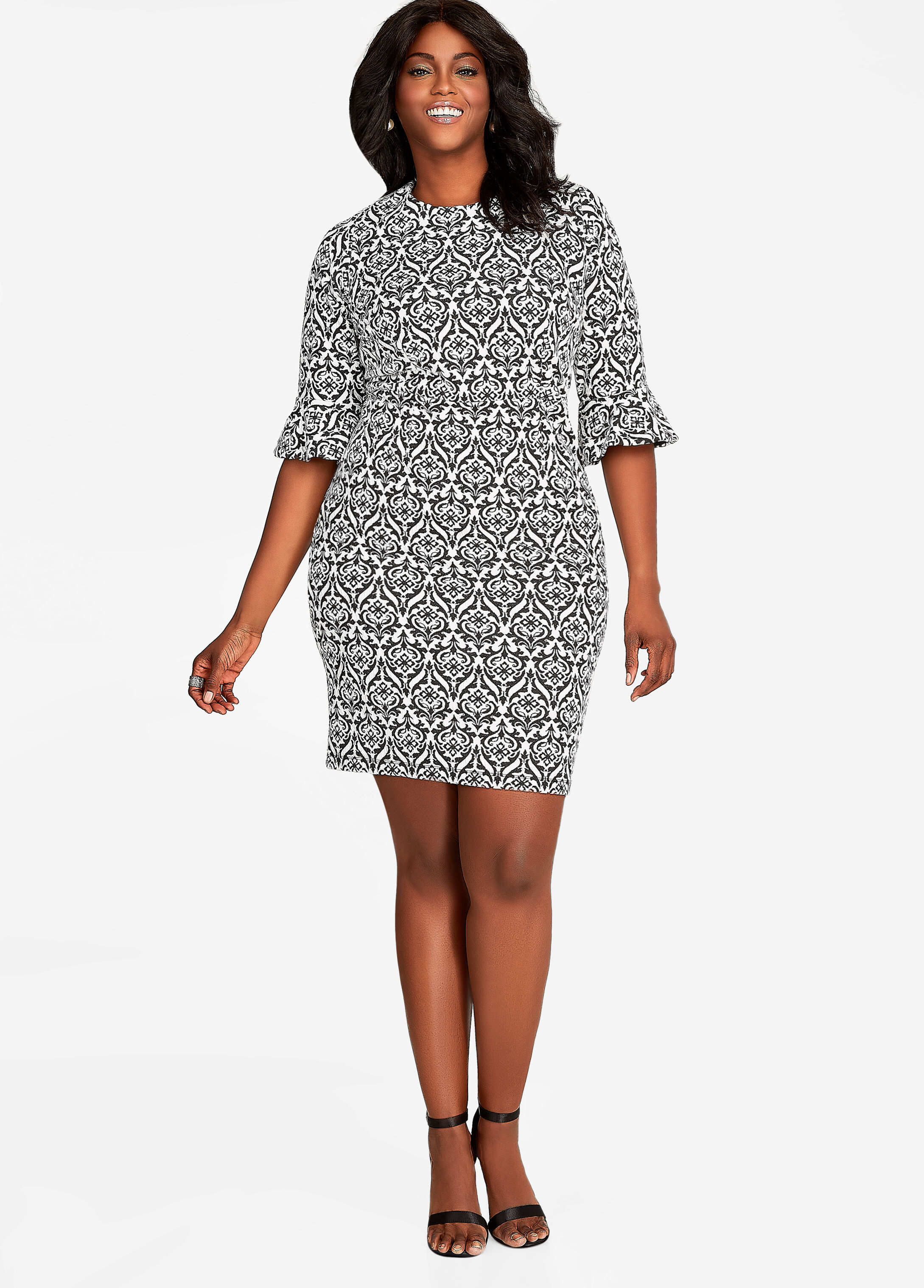 Bell Sleeve Print Sheath Dress