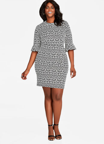 Bell Sleeve Print Sheath Dress Multi Work Dresses
