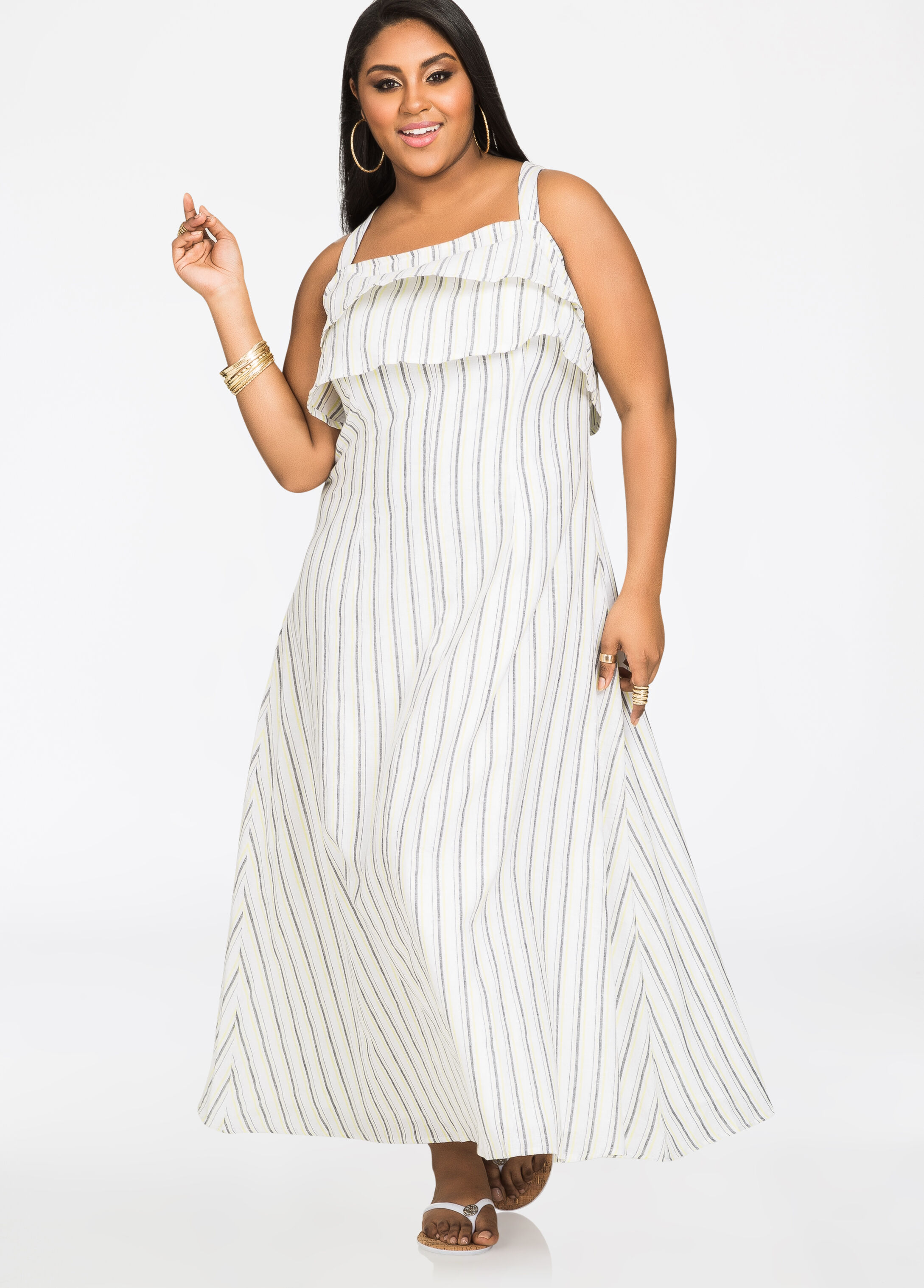 Linen Stripe Ruffle Top Popover