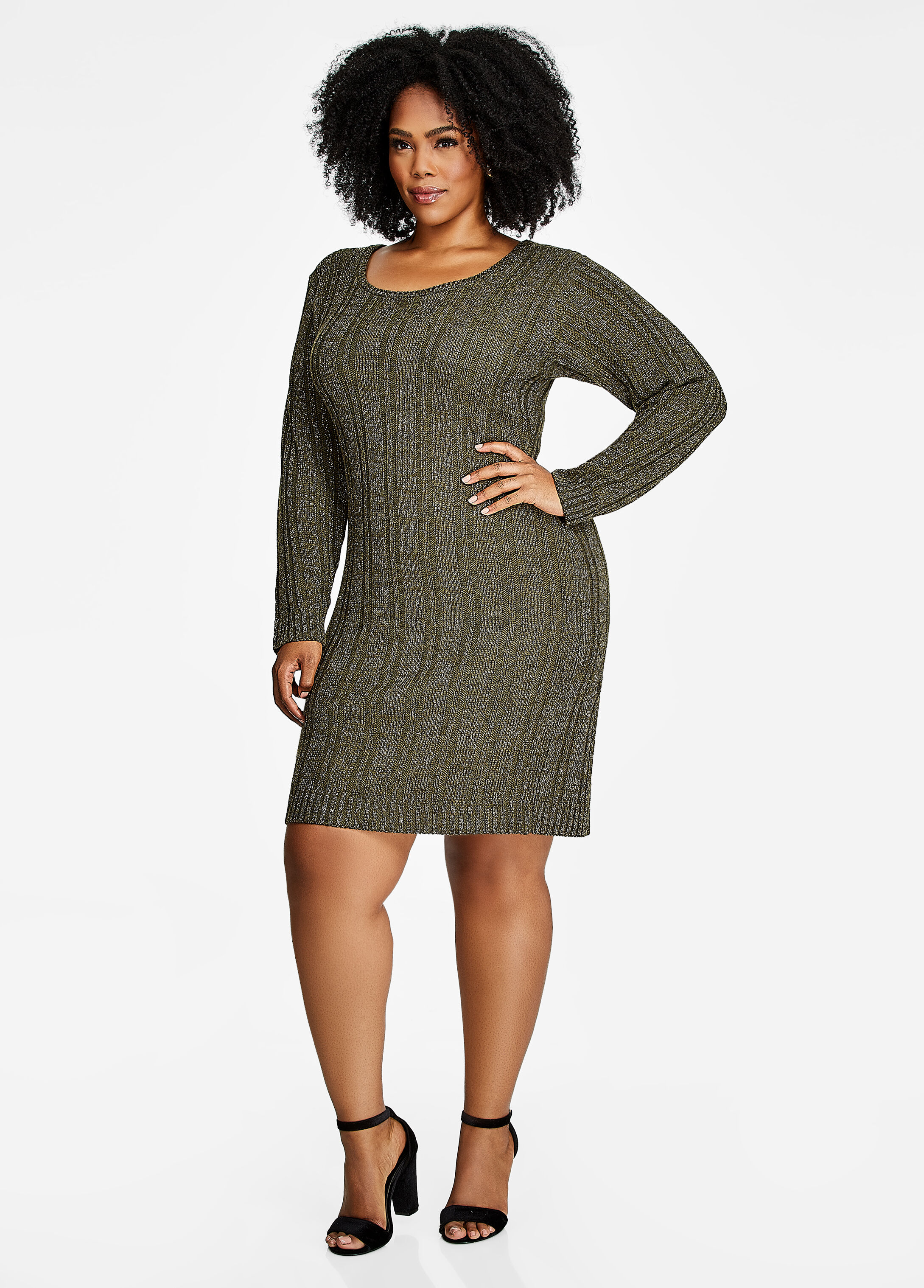 Ribbed Lace Up Back Sweater Dress Deep Depths - Sweater Dresses
