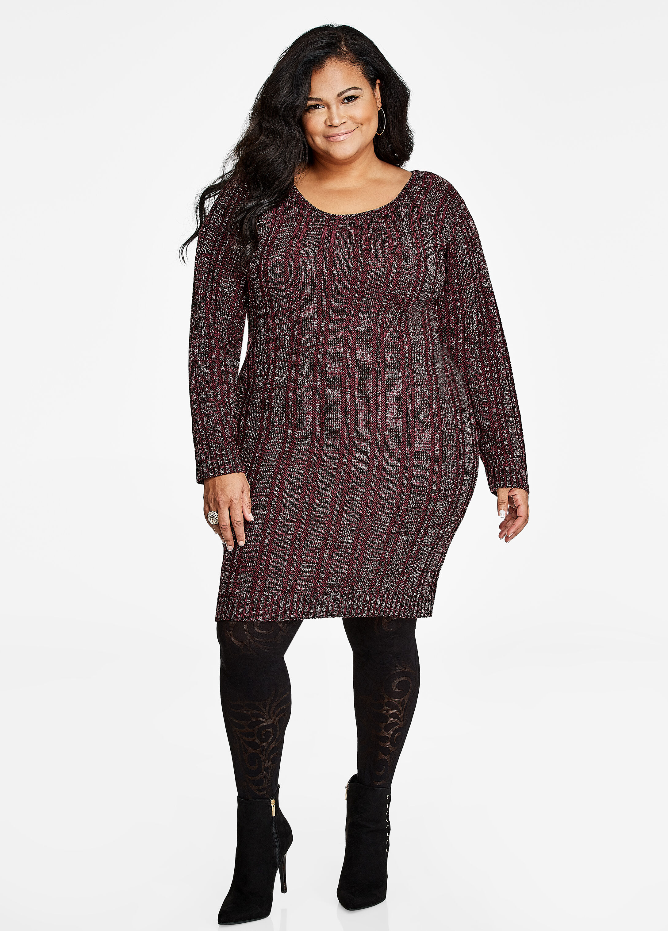 Ribbed Lace Up Back Sweater Dress Italian Plum - Sweater Dresses