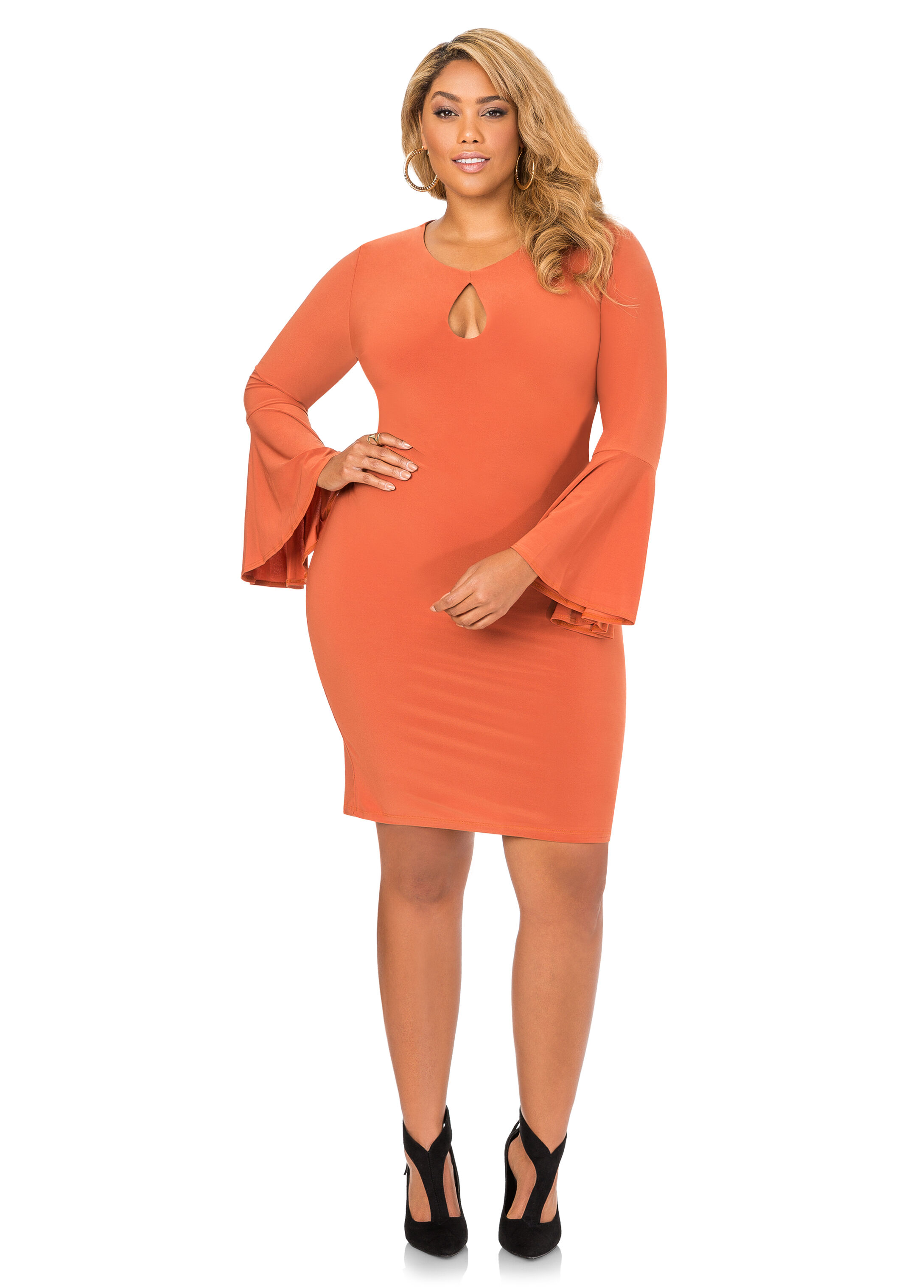 Bell Sleeve Keyhole Bodycon Dress