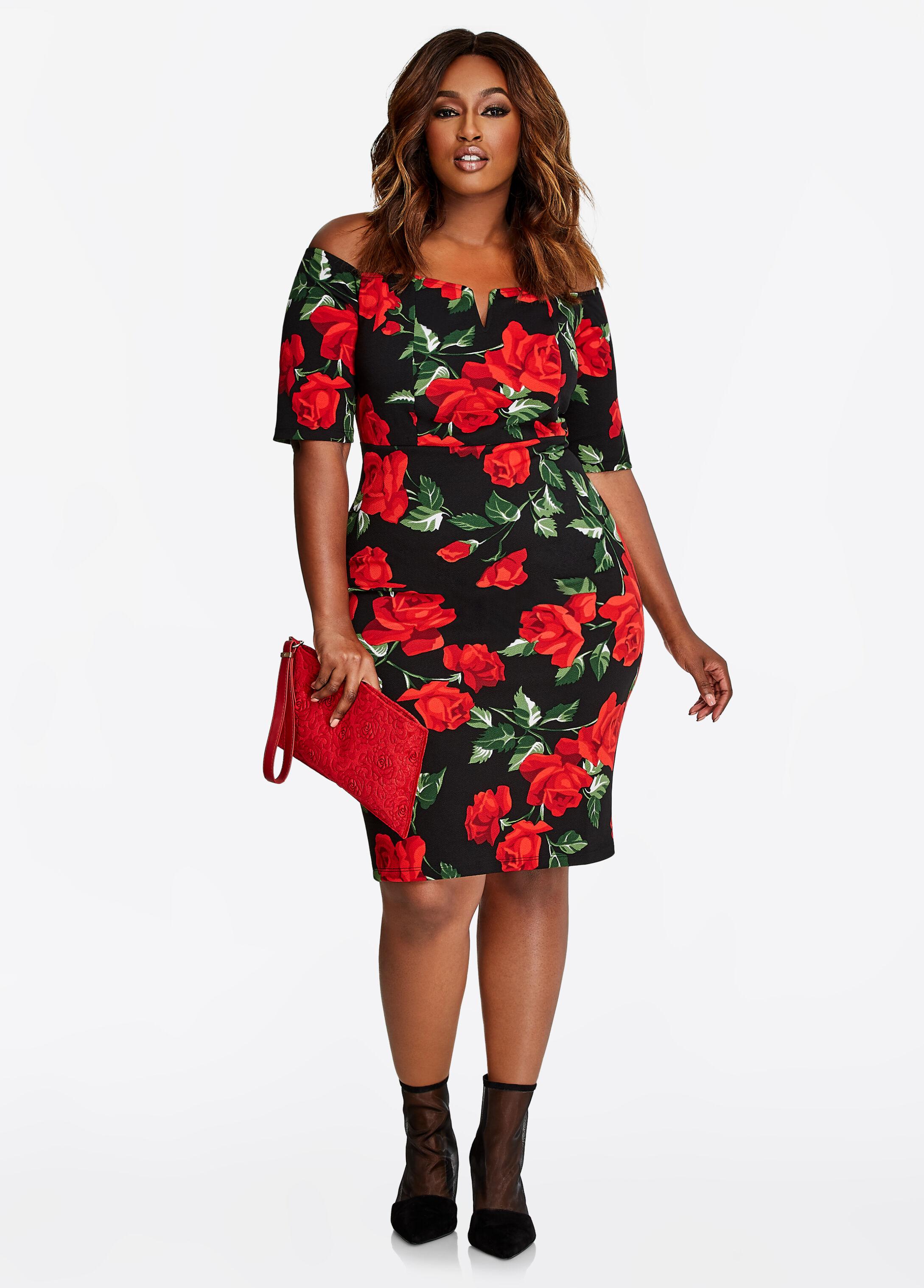Rose Print V-Neck Dress