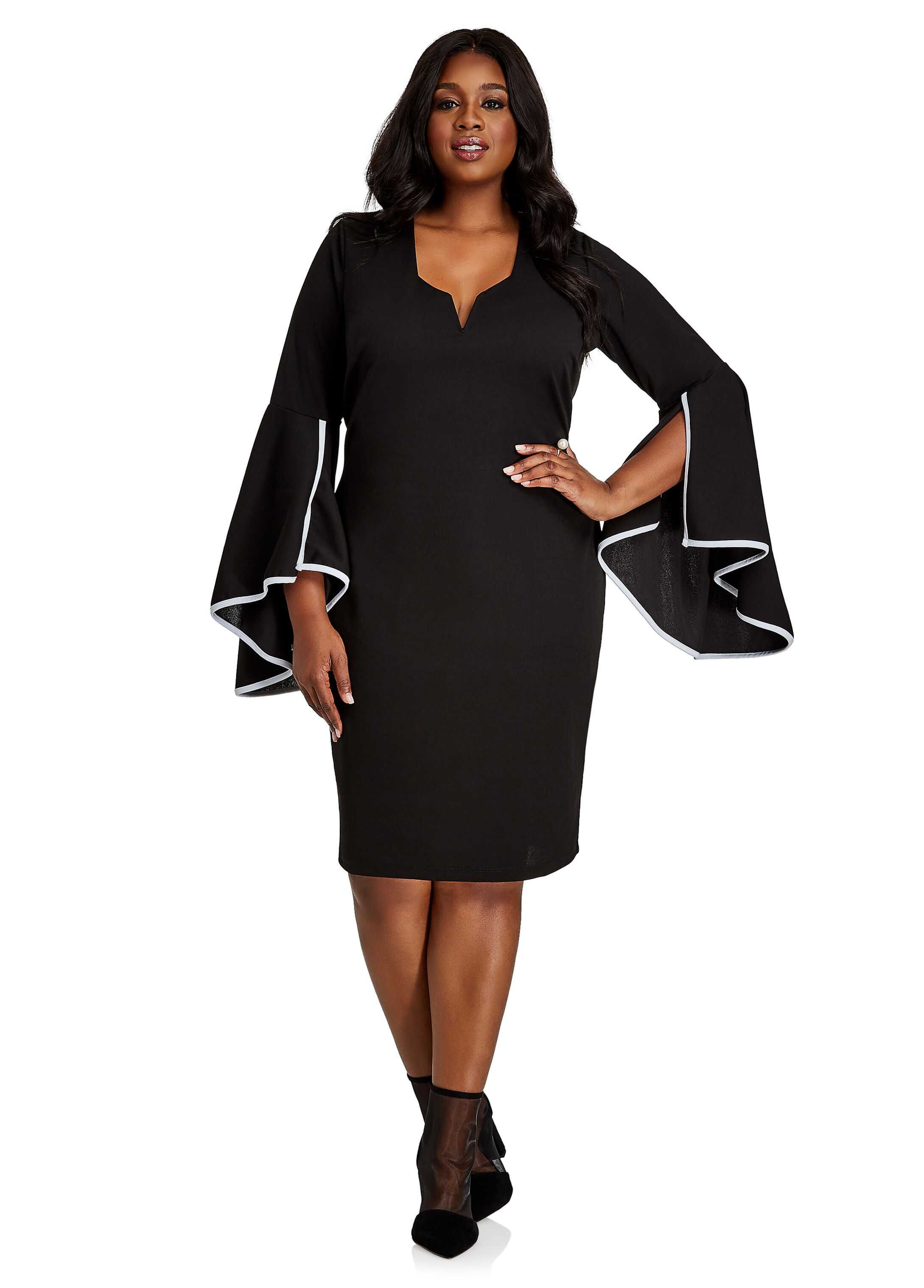 Piped Crepe Dress