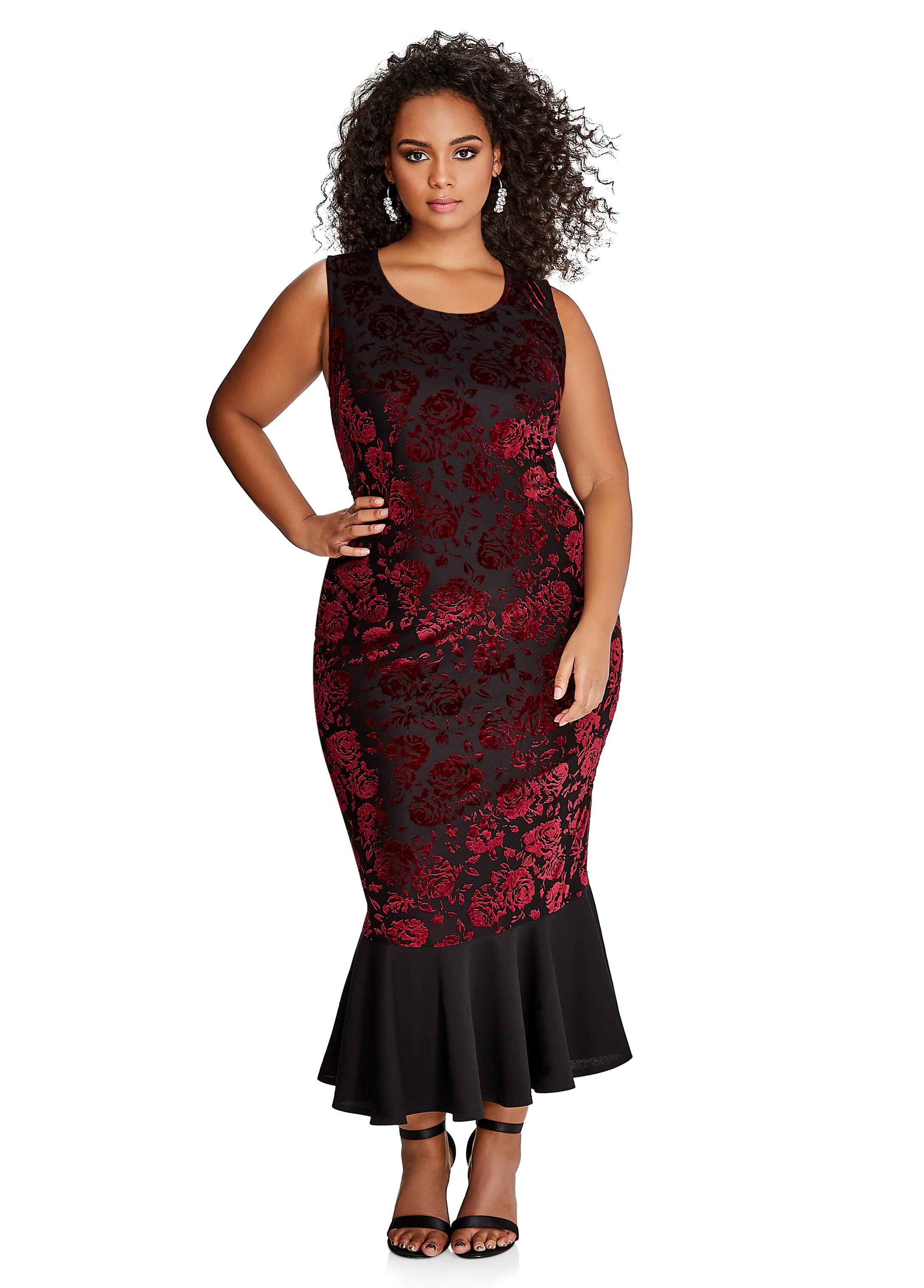 Floral Lace Mermaid Hem Dress