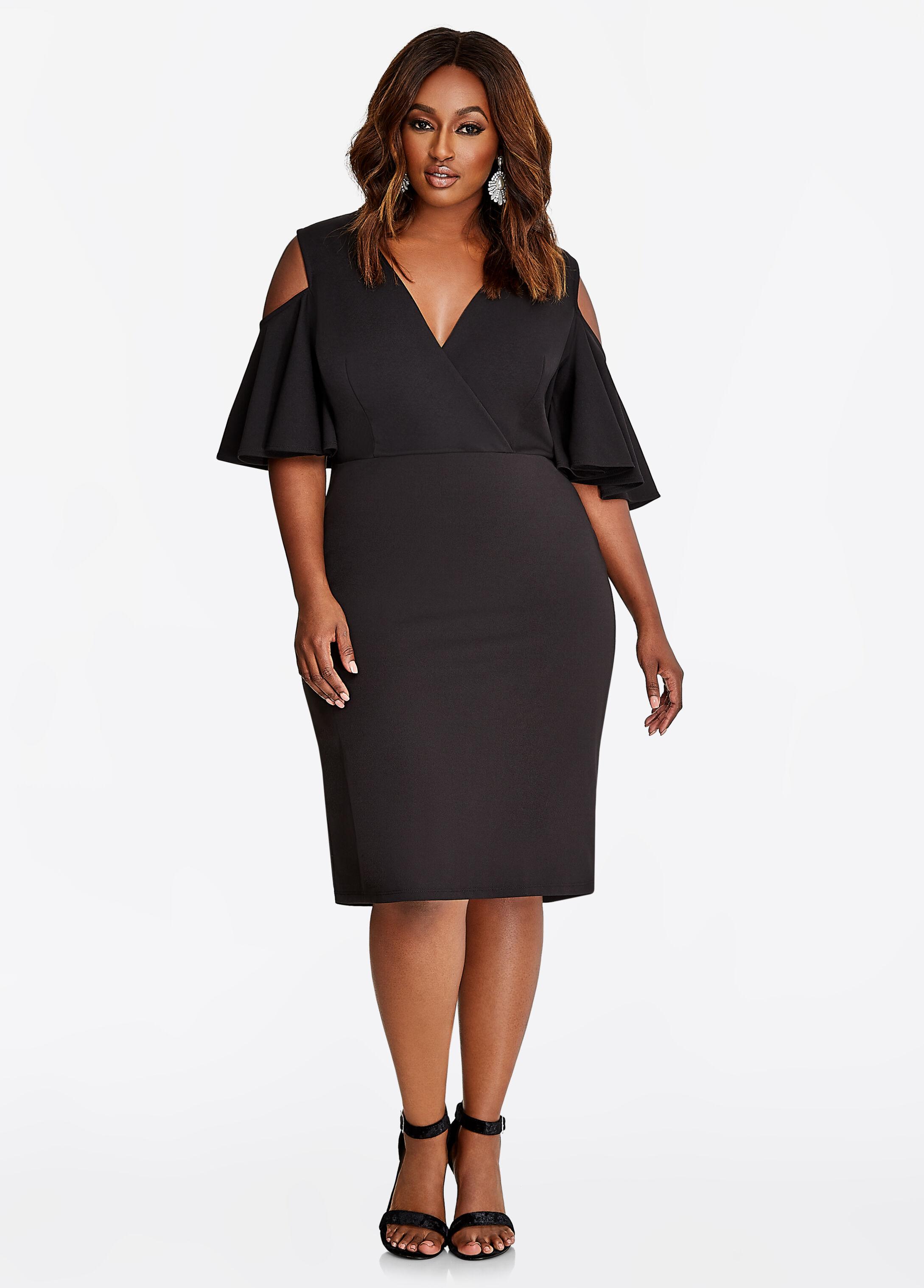 Flutter Sleeve Cold Shoulder Sheath Dress