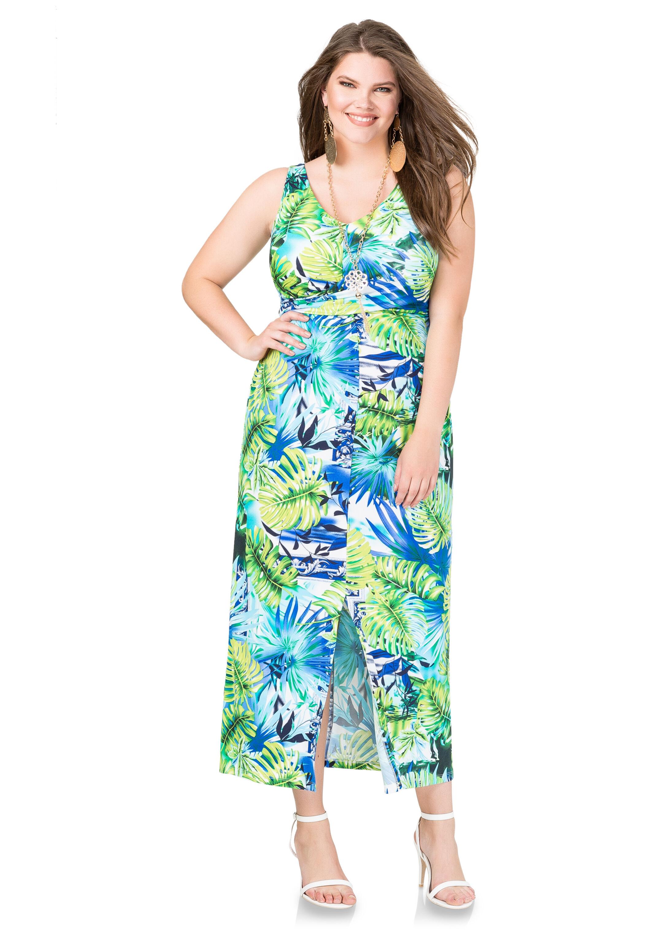 Front Slit Palm Print Maxi Dress