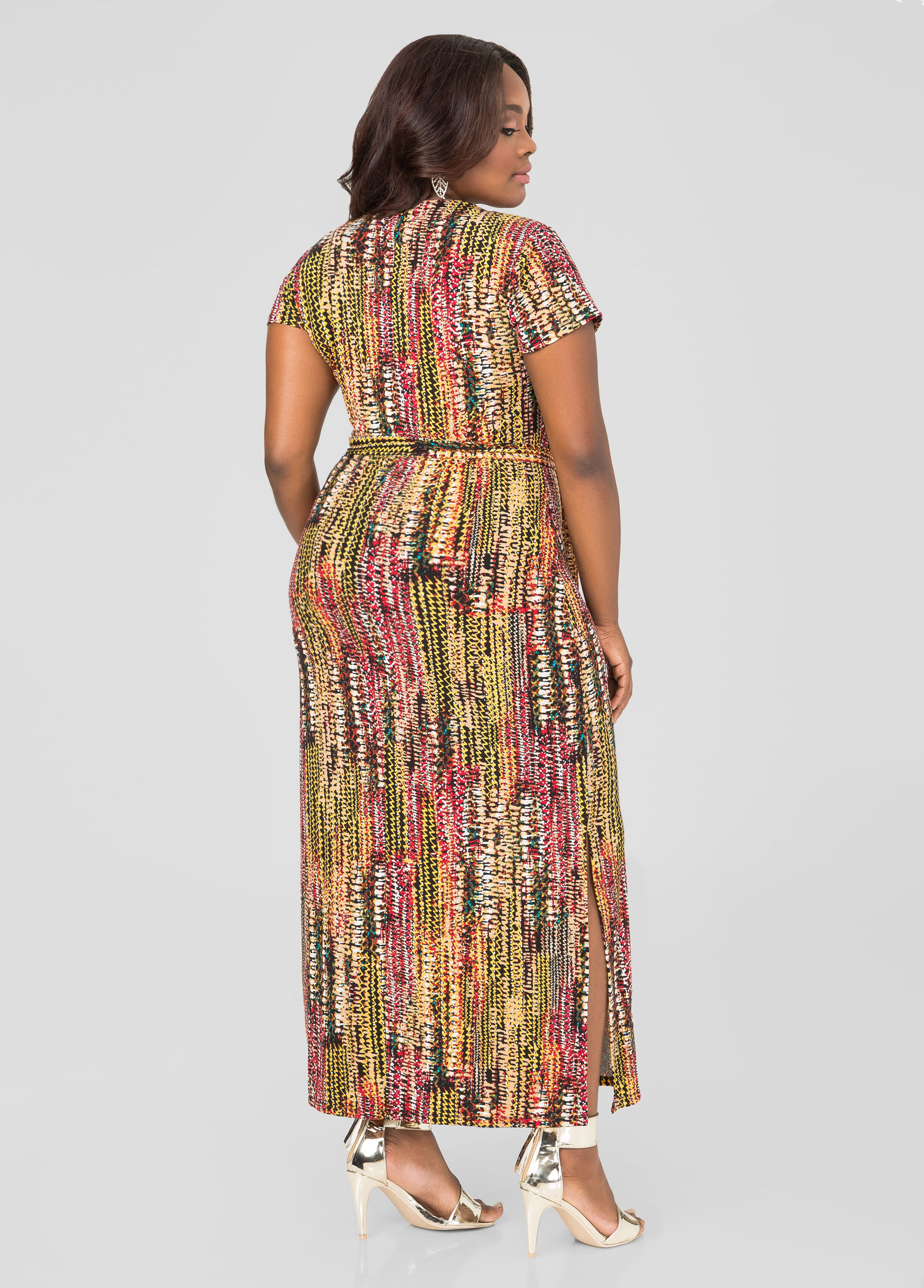 Printed Chain Lace-Up Maxi Dress