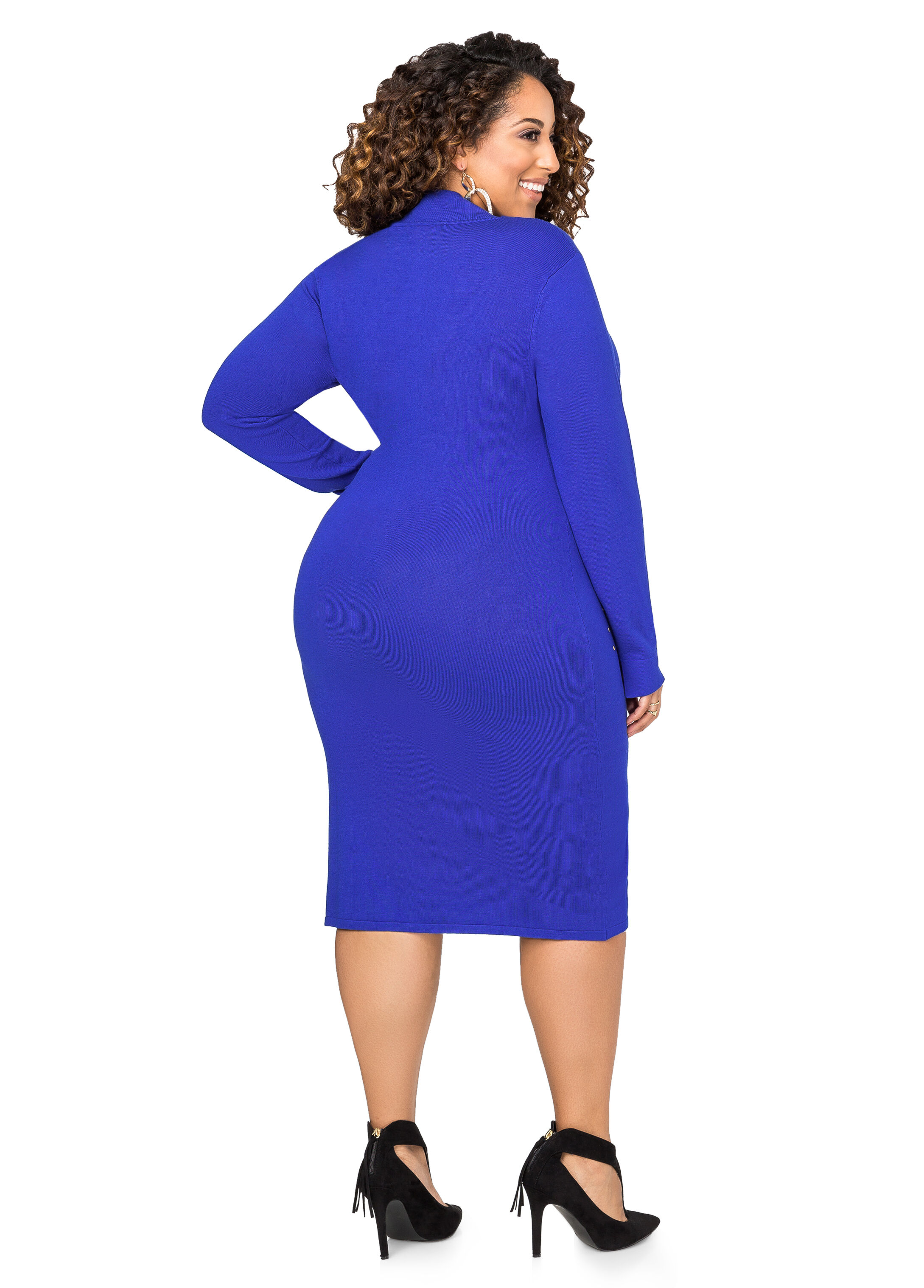 Mock Neck Grommet Sweater Dress