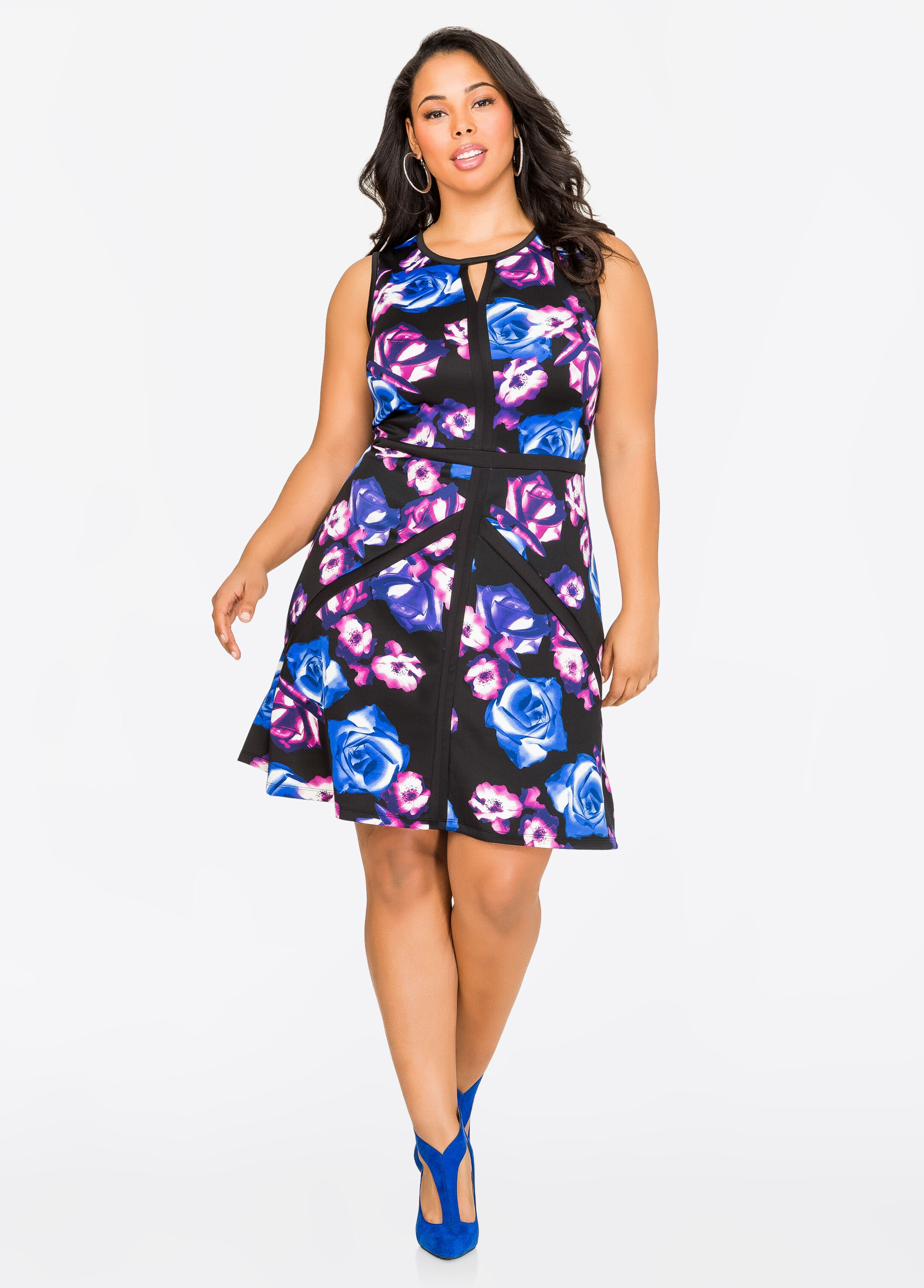 Piped Floral Skater Dress
