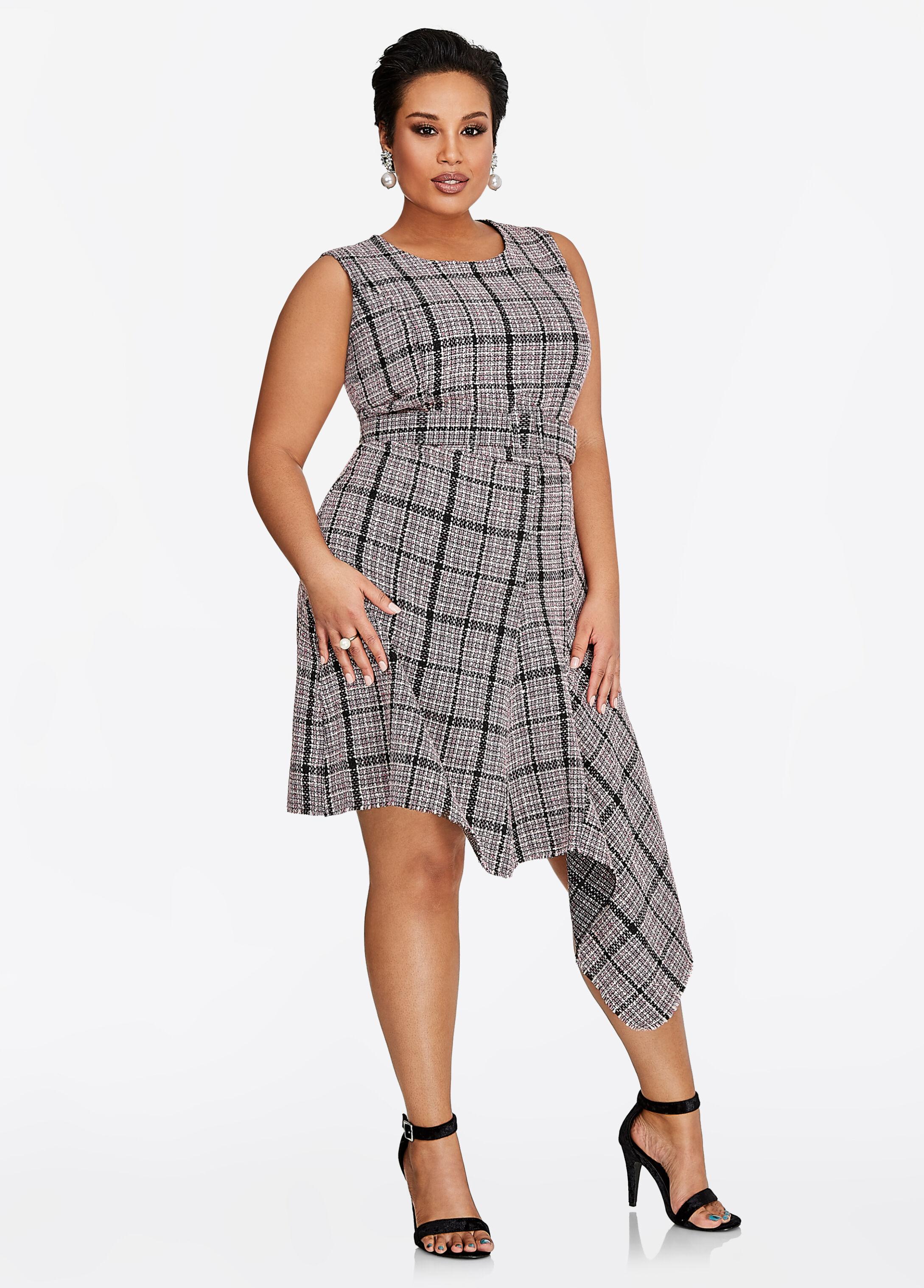 Asymmetrical Bouclé Belted Dress