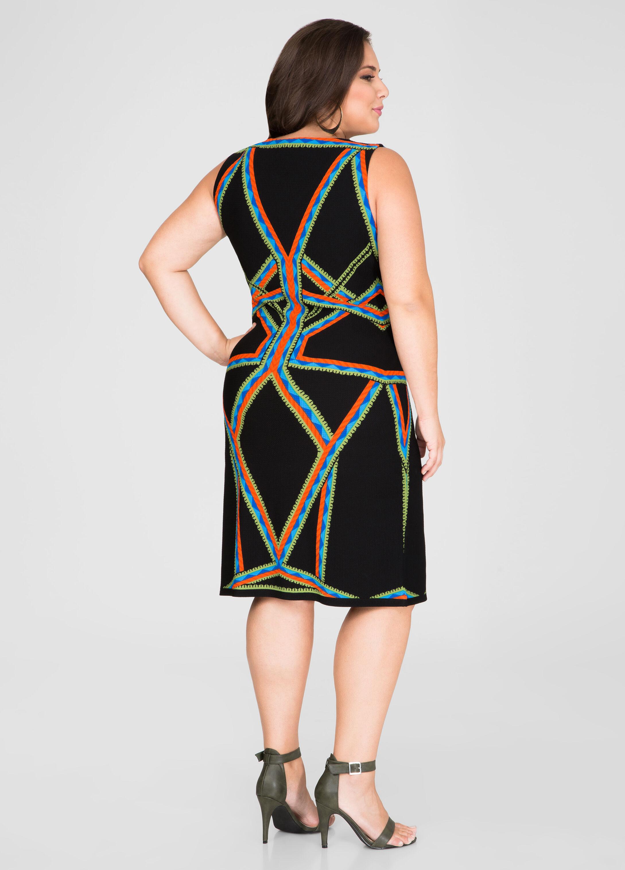 Geo Stripe Sheath Dress