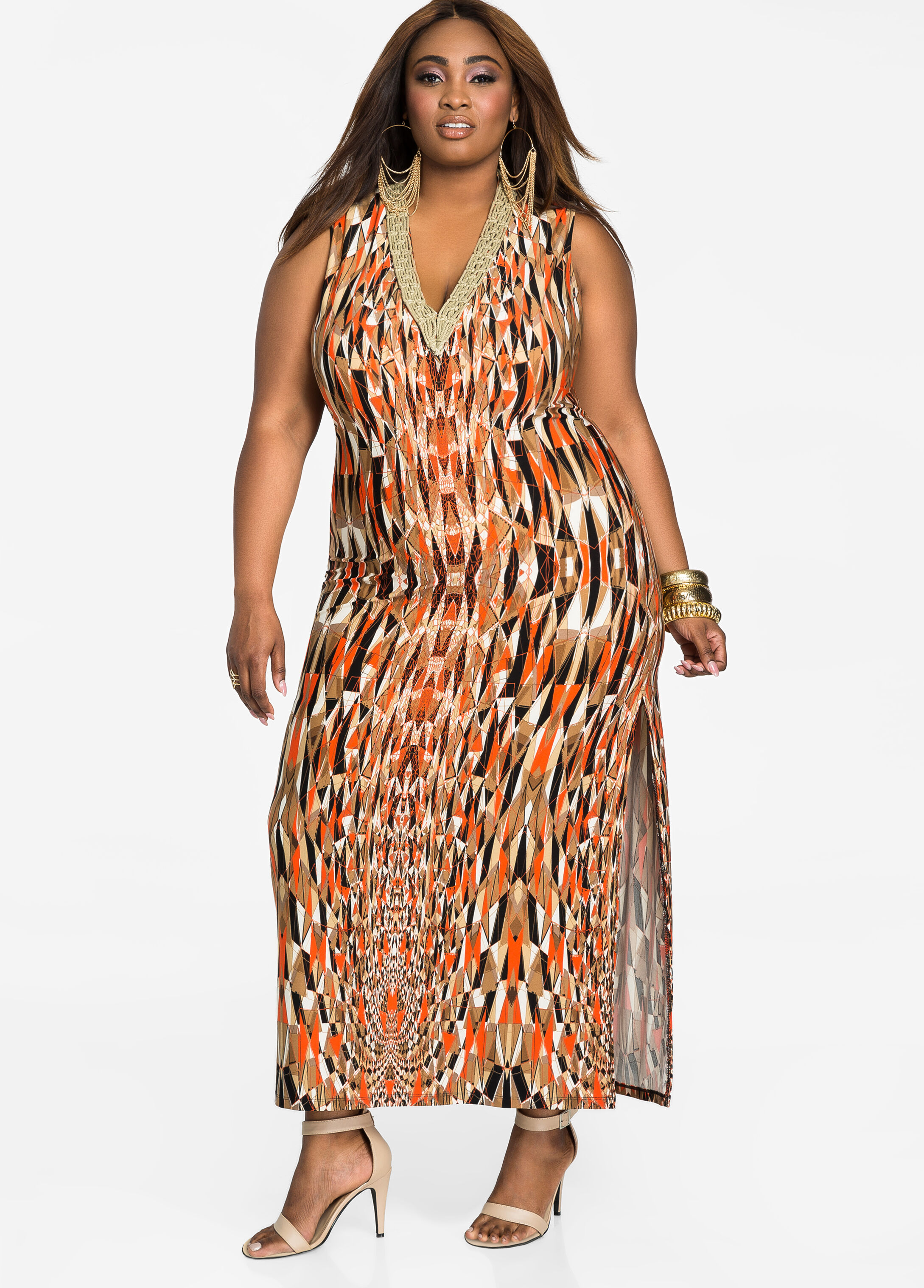Braided Neck Sleeveless Geo Print Maxi Dress