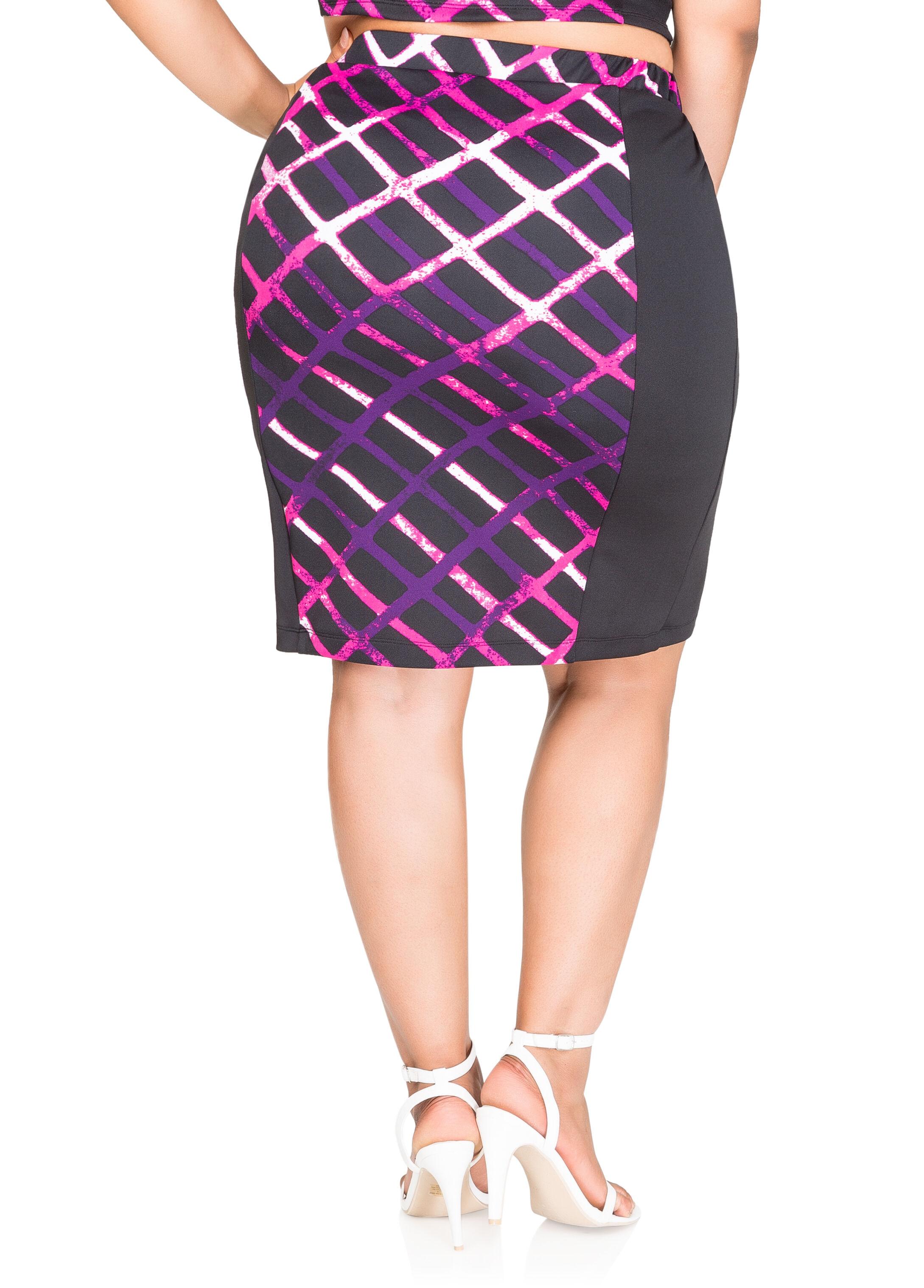Grid Print Pencil Skirt