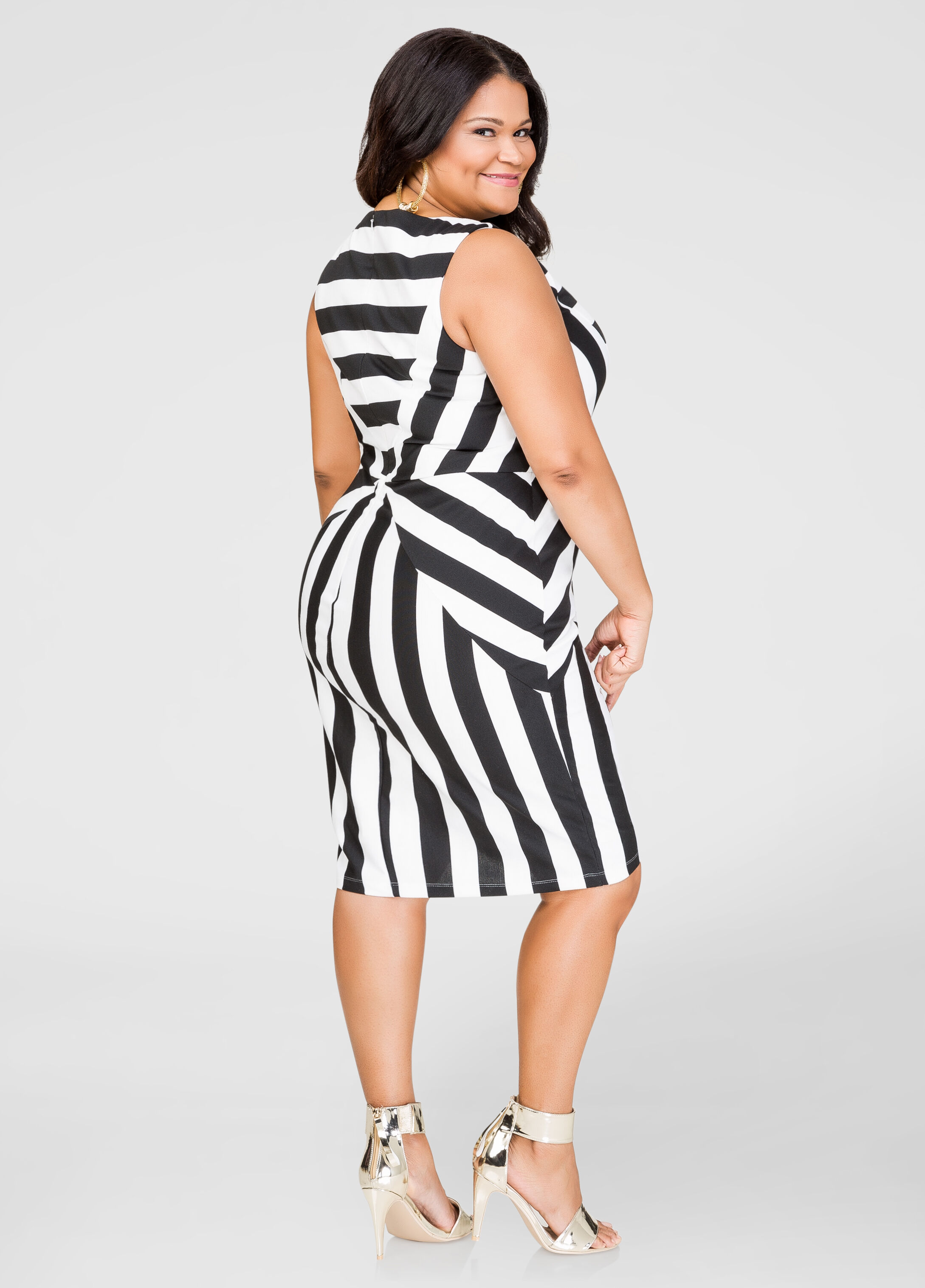 Striped Ponti Sheath Dress