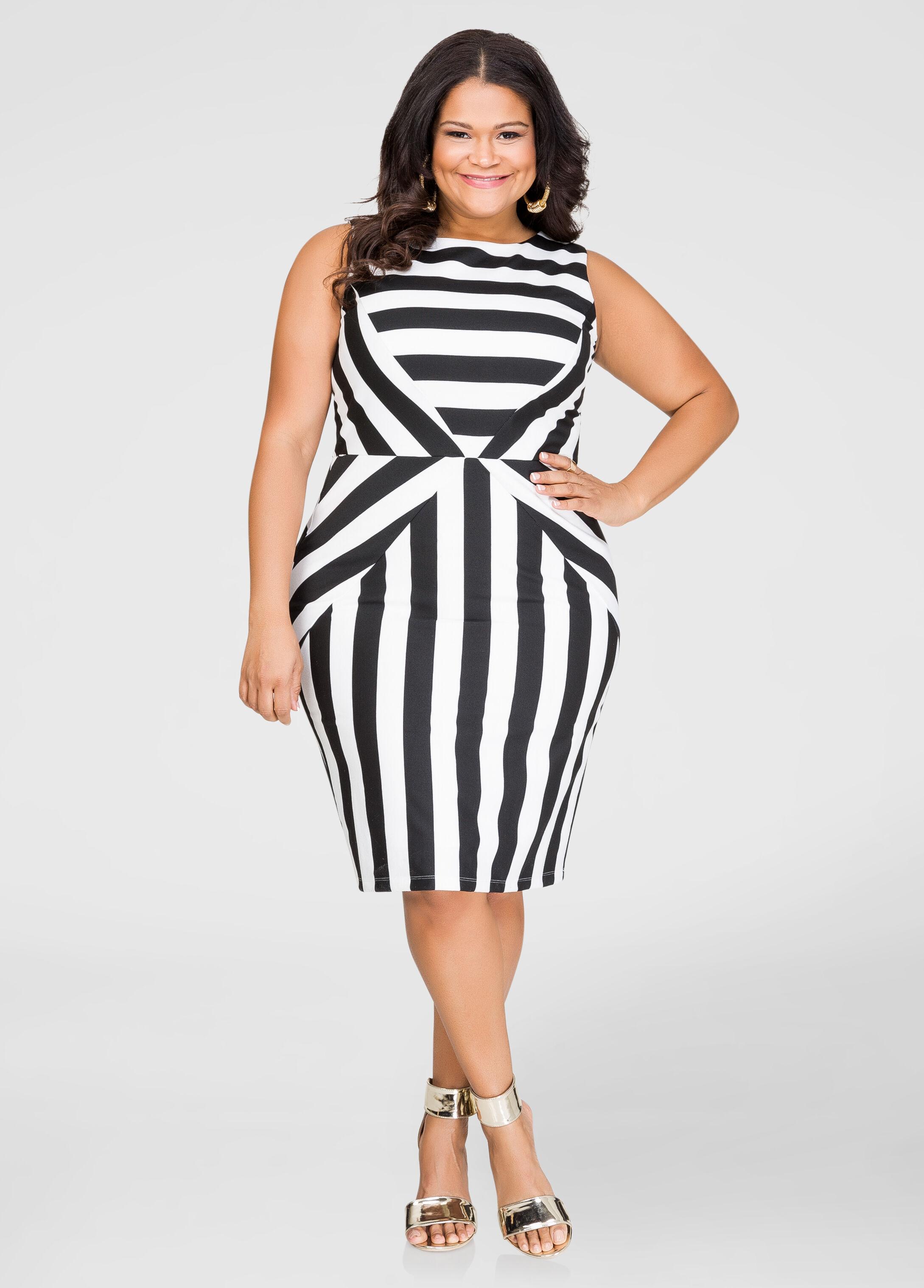 Striped Ponti Sheath Dress-Plus Size Dresses-Ashley ...
