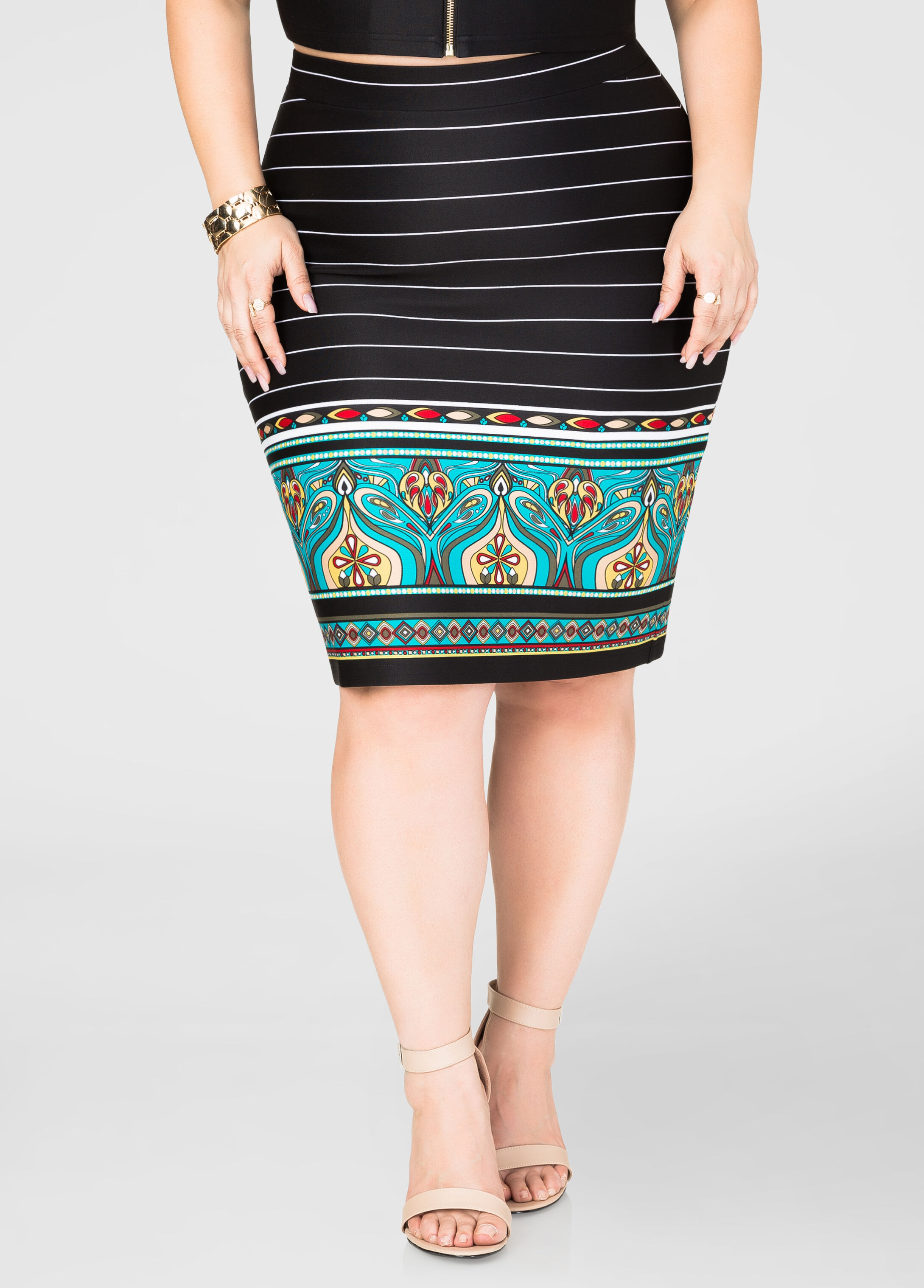 Striped Paisley Border Skirt