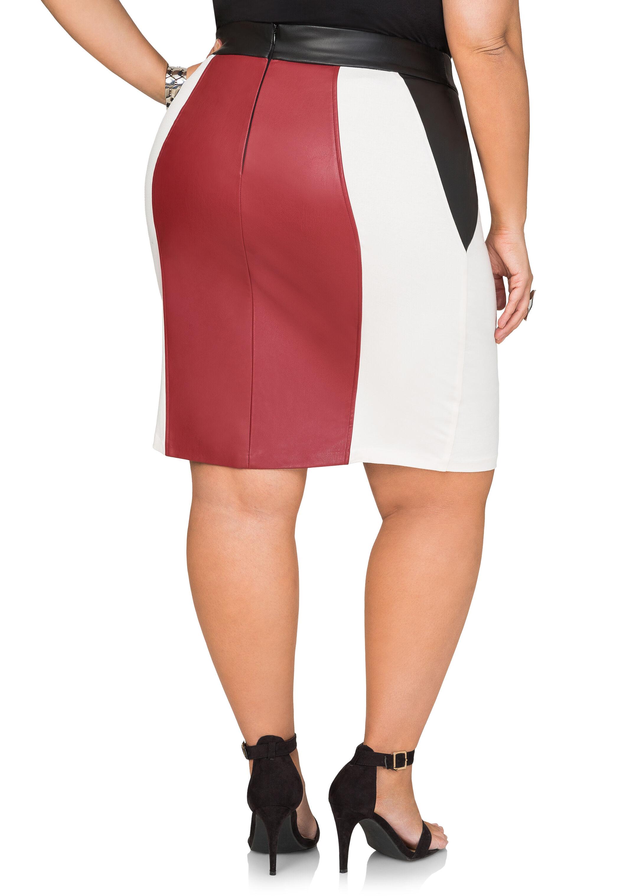 Ponti Faux Leather Pencil Skirt