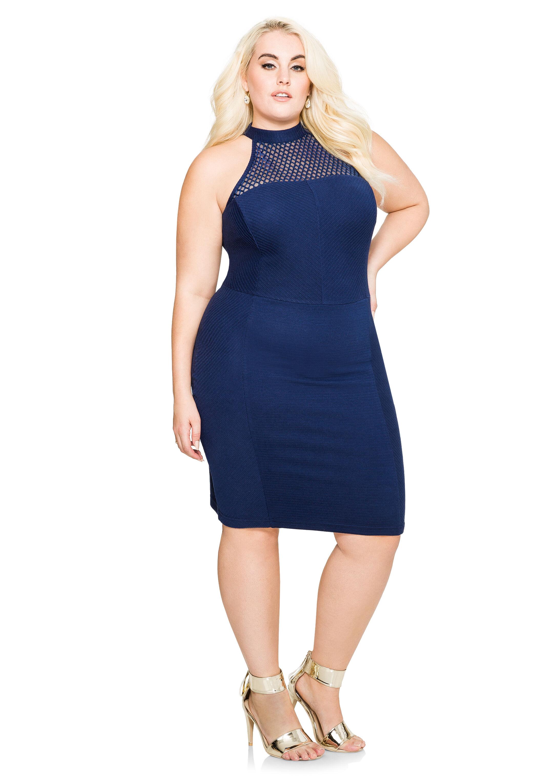 Bodycon Mesh Halter Dress