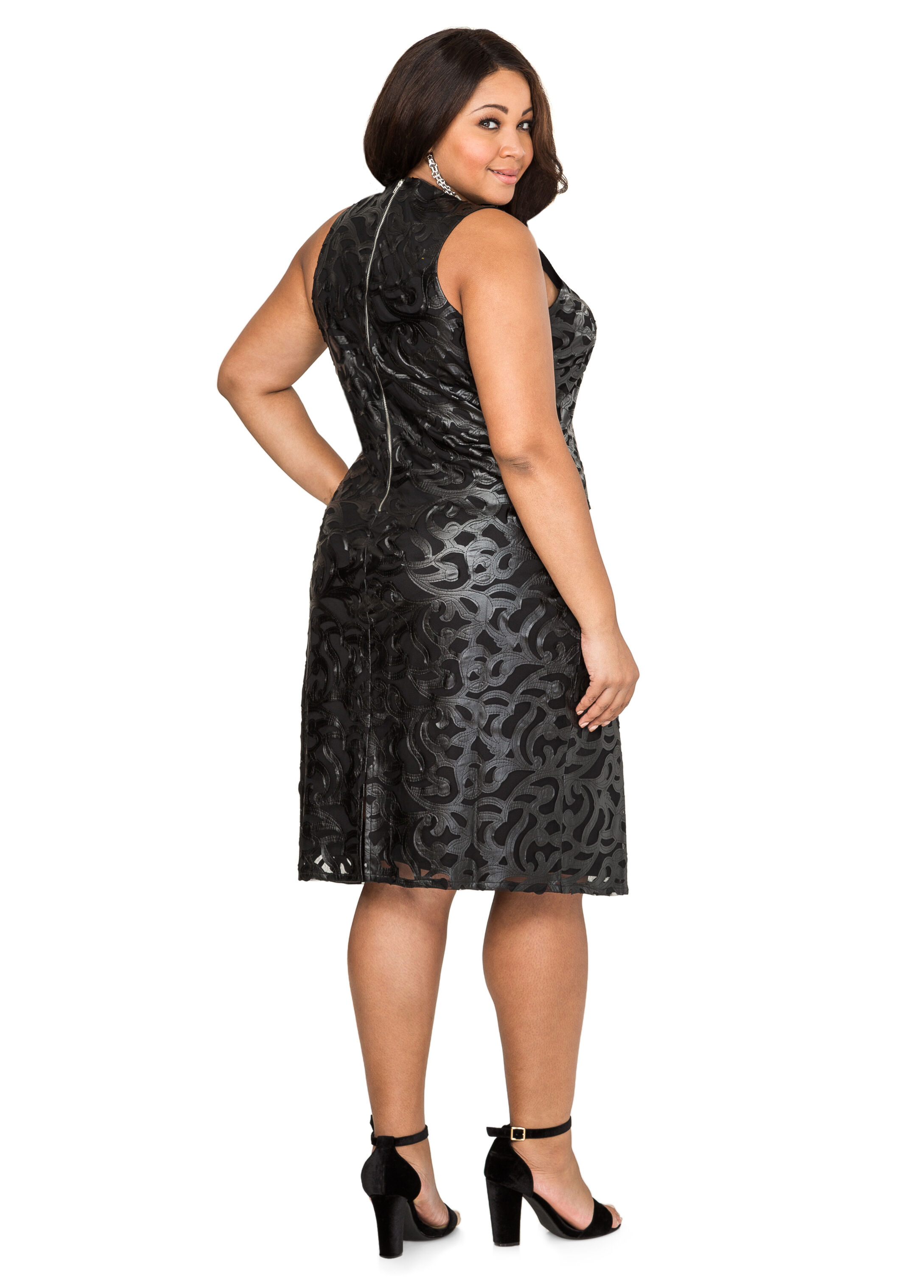 Faux Leather Brocade Sheath Dress