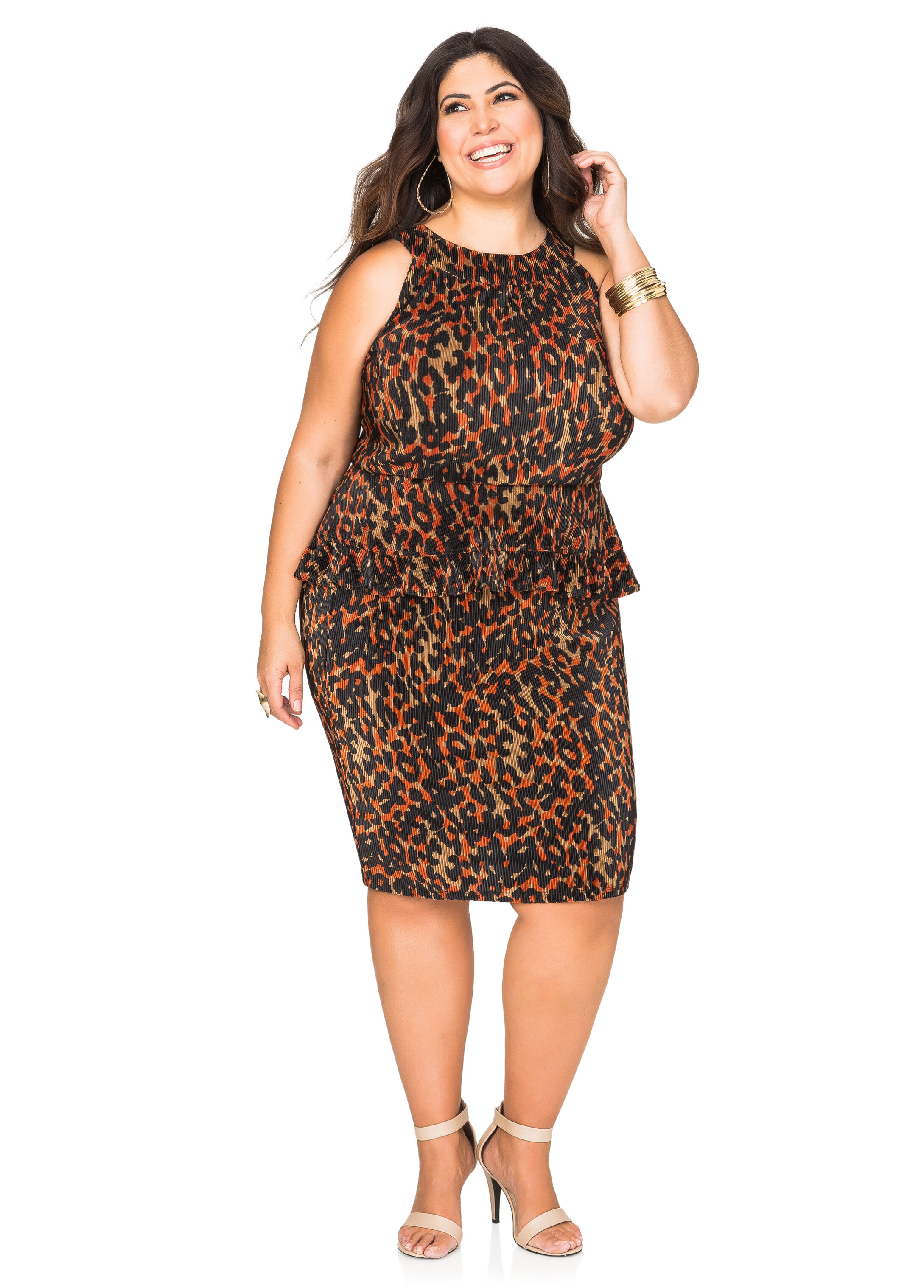 Pleated Leopard Pencil Skirt